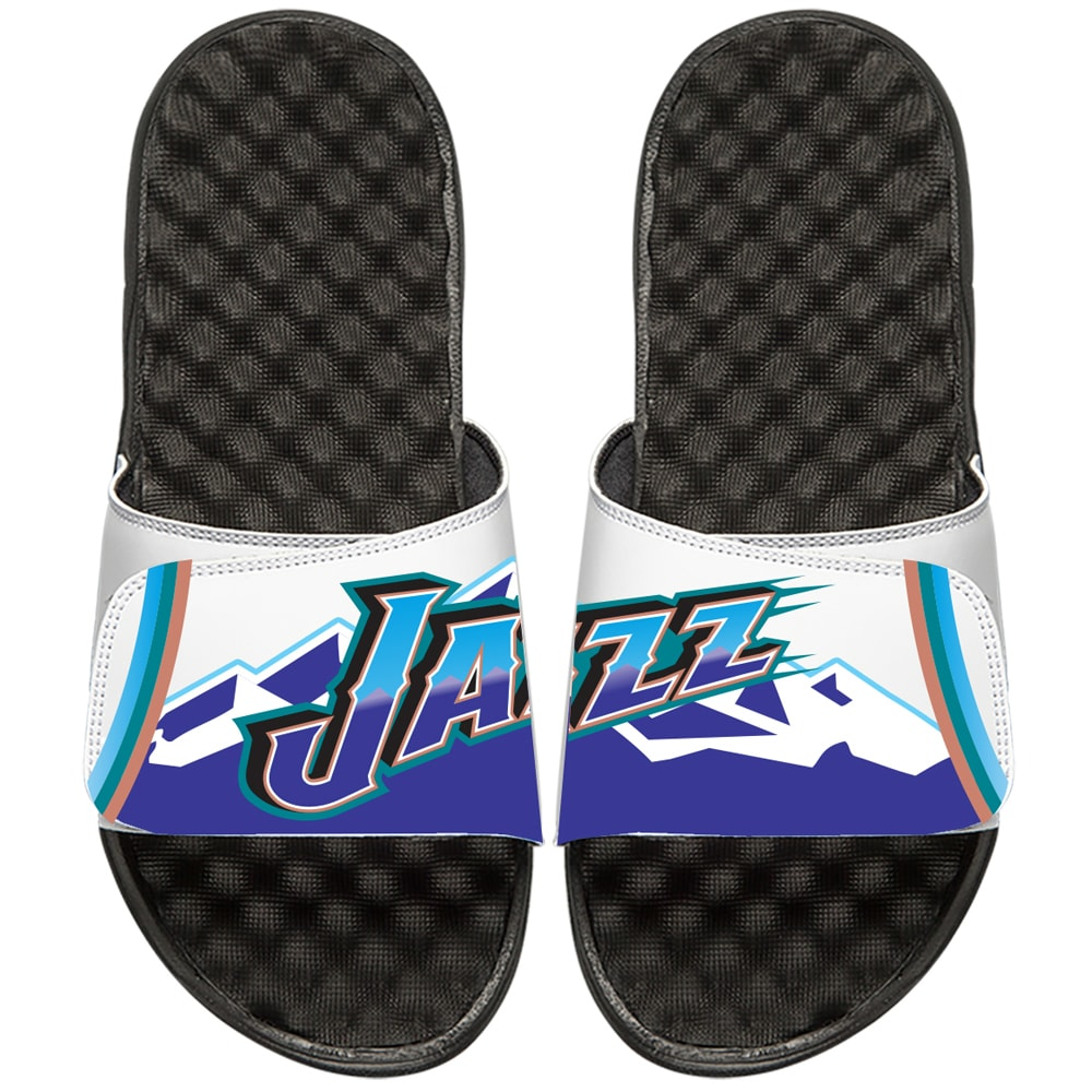 Utah Jazz ISlide NBA Hardwood Classics Jersey Slide Sandals - White/Black