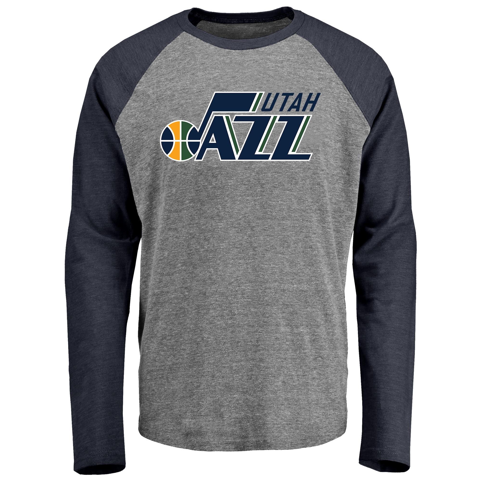 Utah Jazz Fanatics Branded Primary Logo Raglan Long Sleeve T-Shirt - Heathered Gray