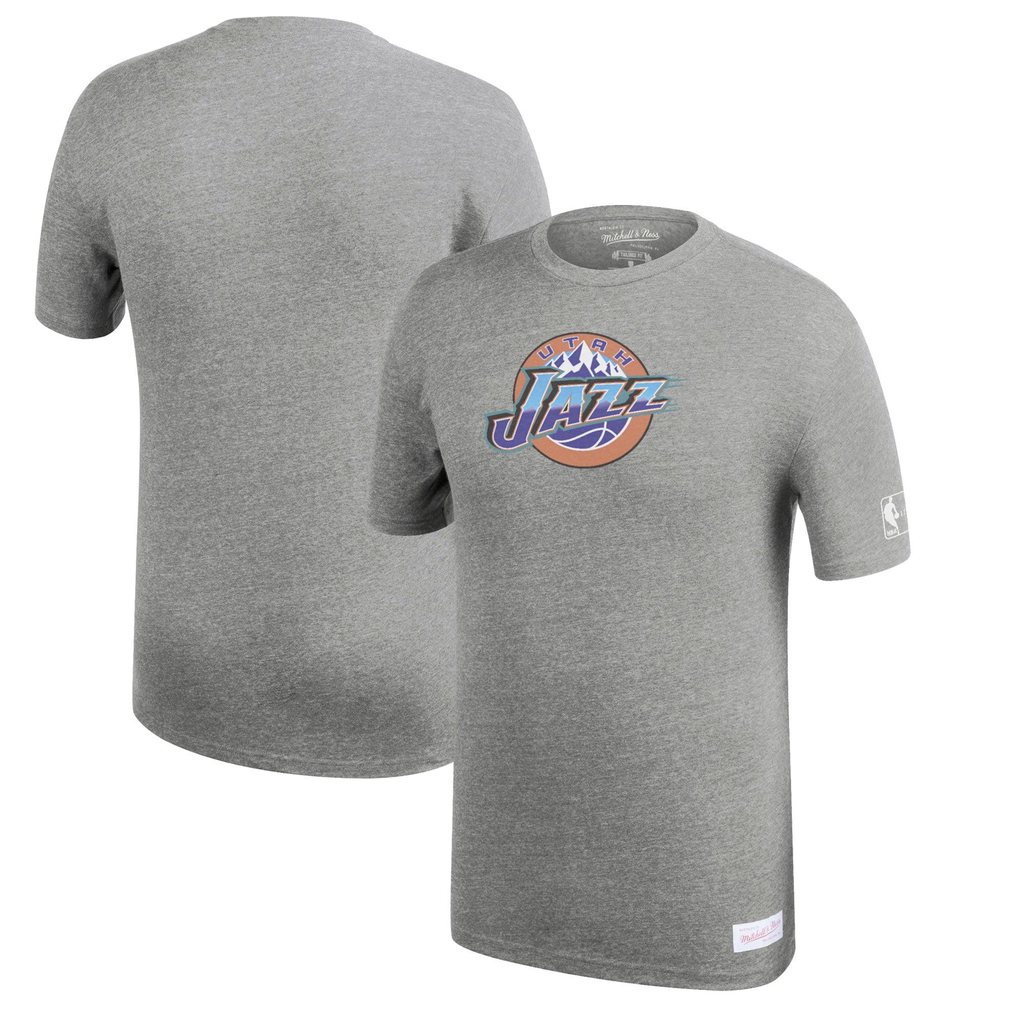 Utah Jazz Mitchell & Ness Hardwood Classics Throwback Logo Tri-Blend T-Shirt - Heathered Gray