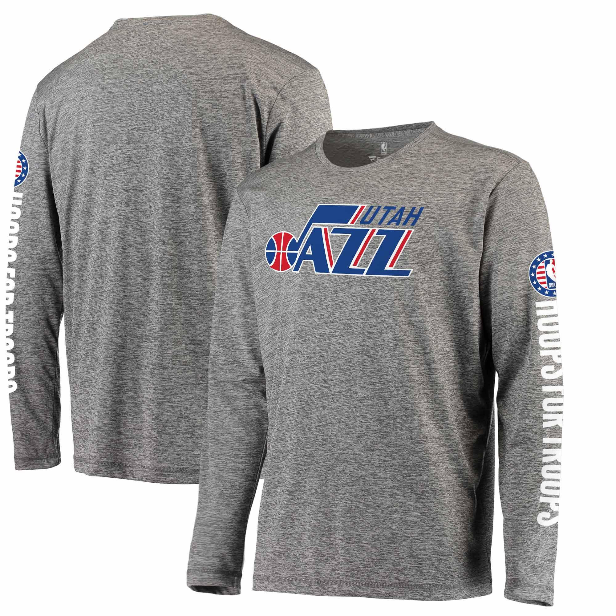 Utah Jazz Fanatics Branded Hoops for Troops Long Sleeve T-Shirt - Heathered Gray