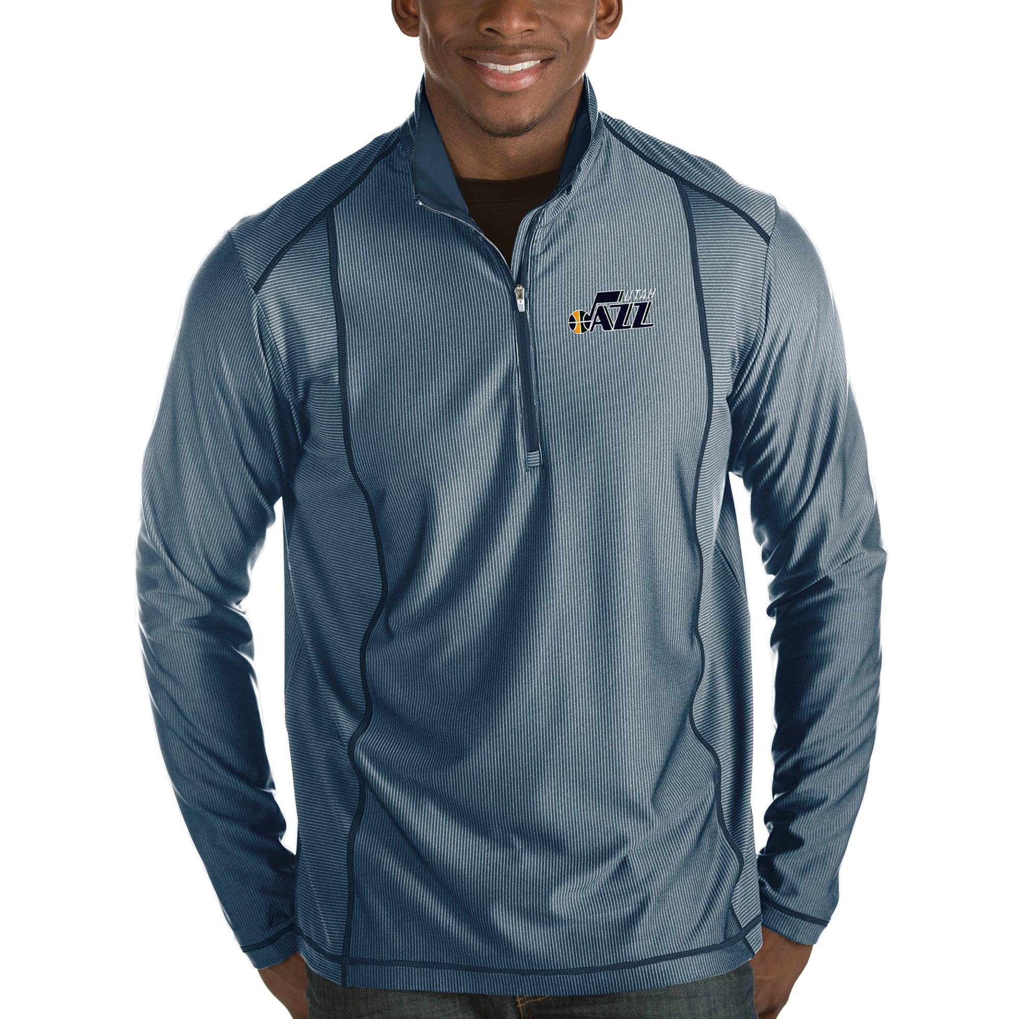Utah Jazz Antigua Tempo Half-Zip Pullover Jacket - Navy
