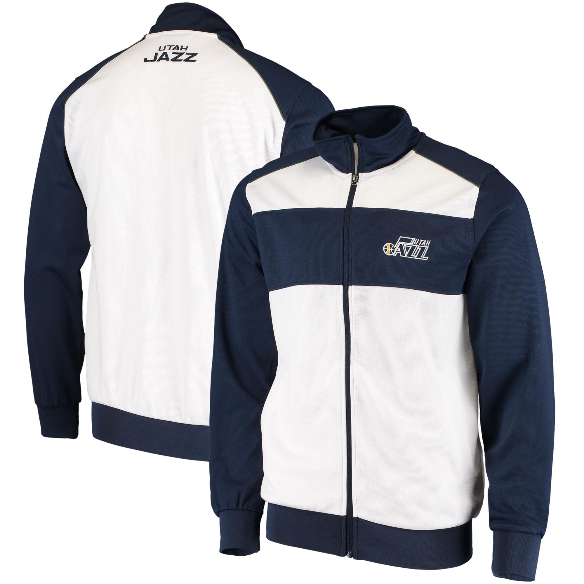 Utah Jazz G-III Sports by Carl Banks Layup Full-Zip Track Jacket - White/Navy
