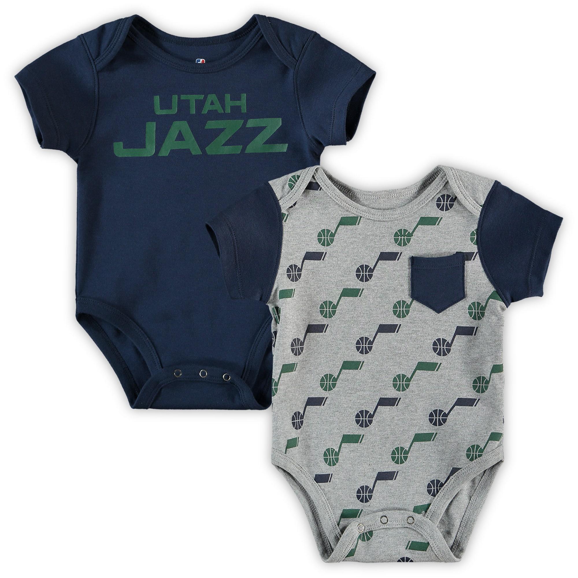 Utah Jazz Infant Little Baller 2-Pack Bodysuit Set - Navy/Heathered Gray