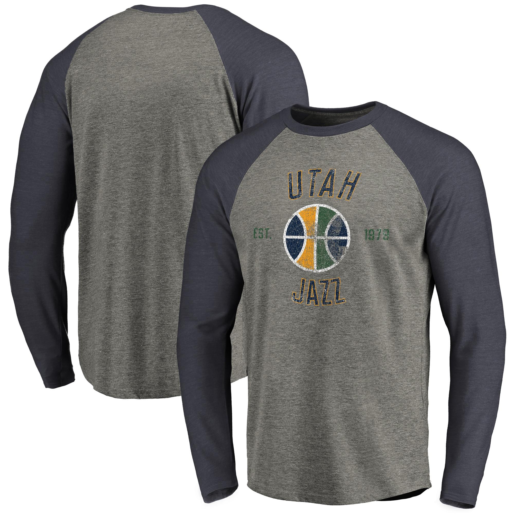 Utah Jazz Fanatics Branded Heritage Long Sleeve Raglan T-Shirt - Heathered Gray