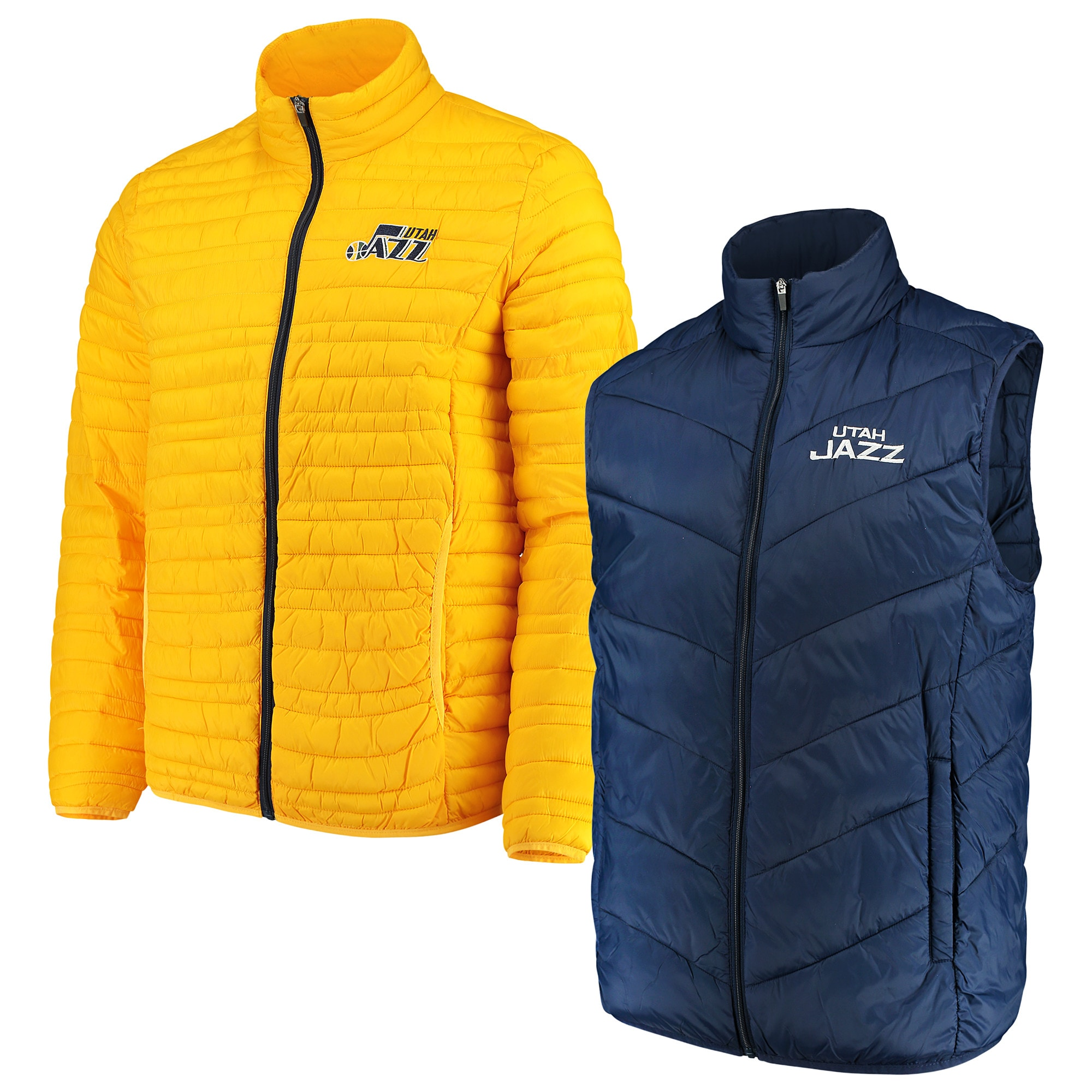 Utah Jazz G-III Sports by Carl Banks Three & Out 3-in-1 System Full-Zip Vest & Jacket Set - Navy/Gold