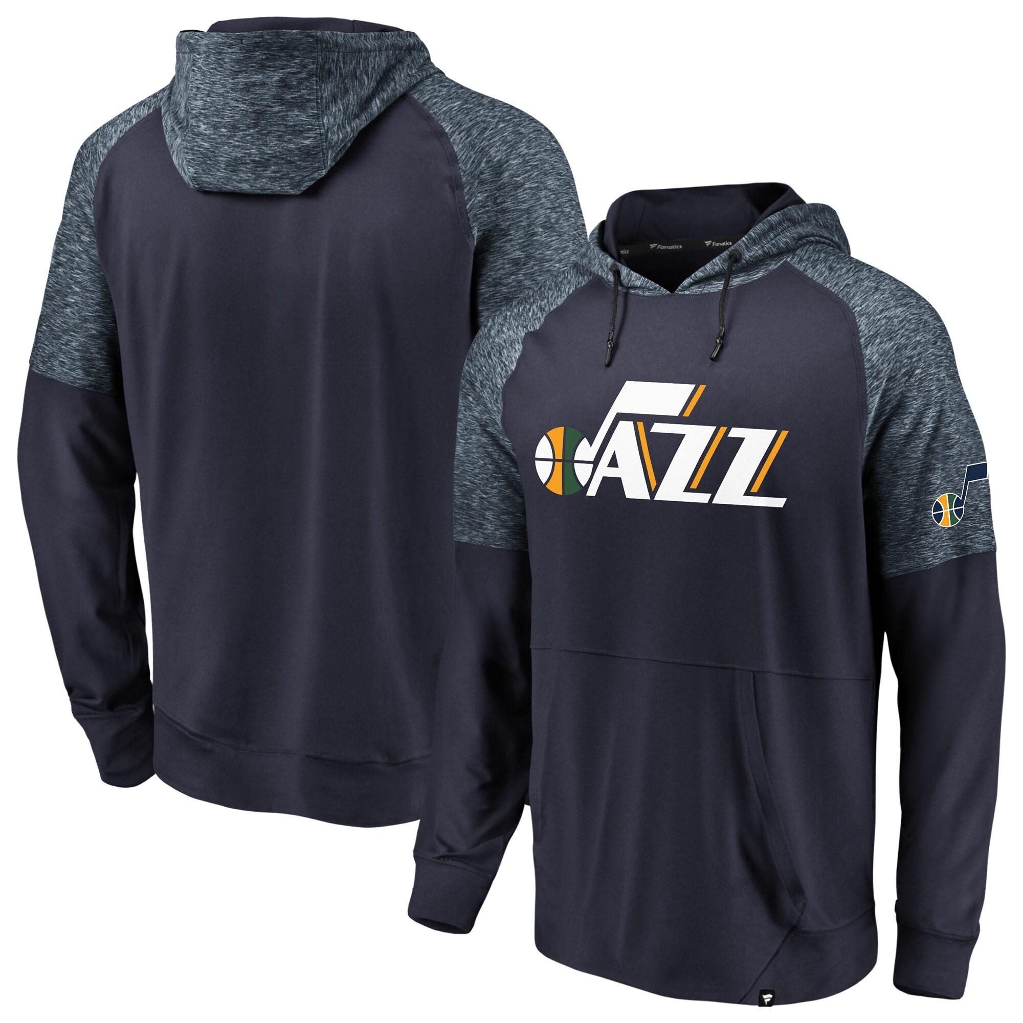 Utah Jazz Fanatics Branded Made to Move Static Performance Raglan Pullover Hoodie - Navy