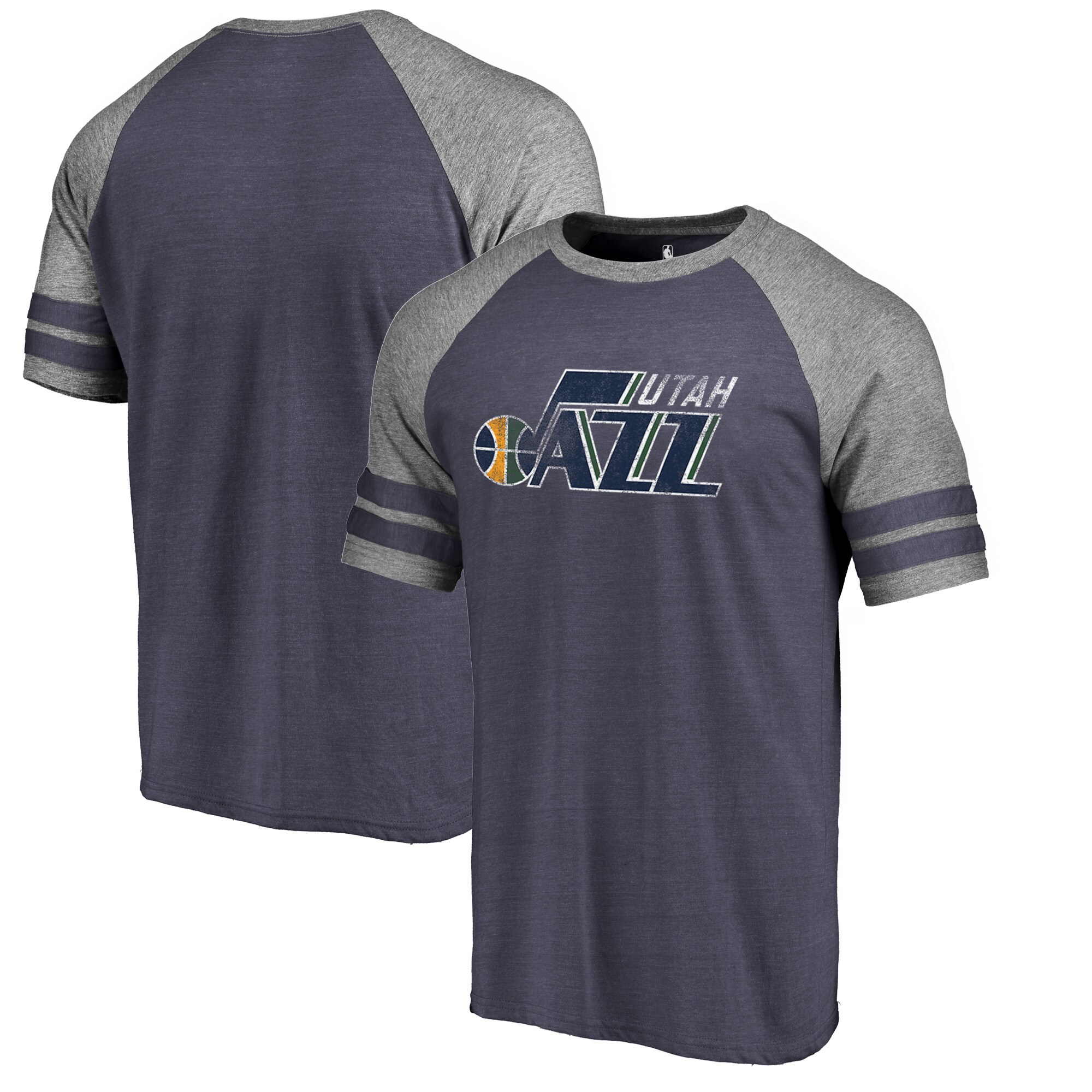 Utah Jazz Fanatics Branded Distressed Logo Raglan Tri-Blend T-Shirt - Navy