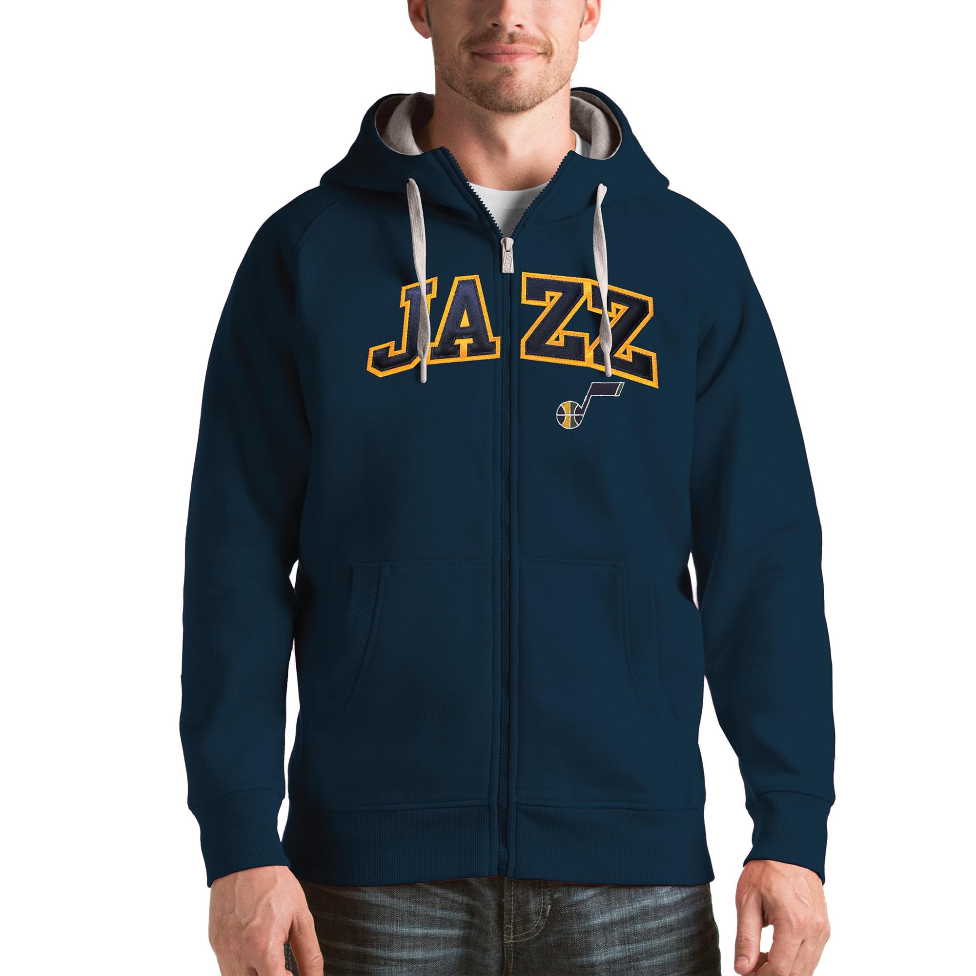 Utah Jazz Antigua Victory Full Zip Hoodie - Navy
