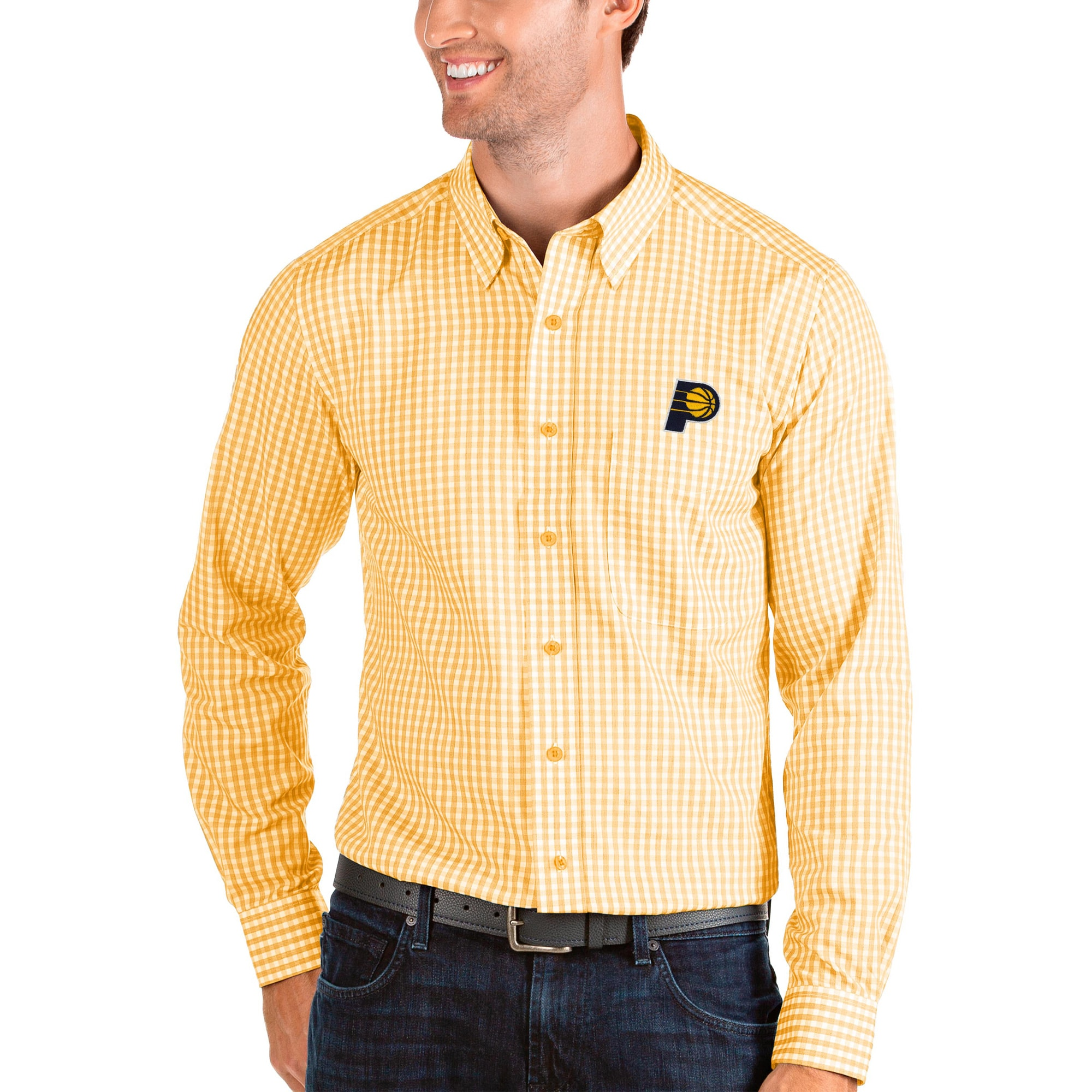 Indiana Pacers Antigua Structure Long Sleeve Button-Up Shirt - Gold/White