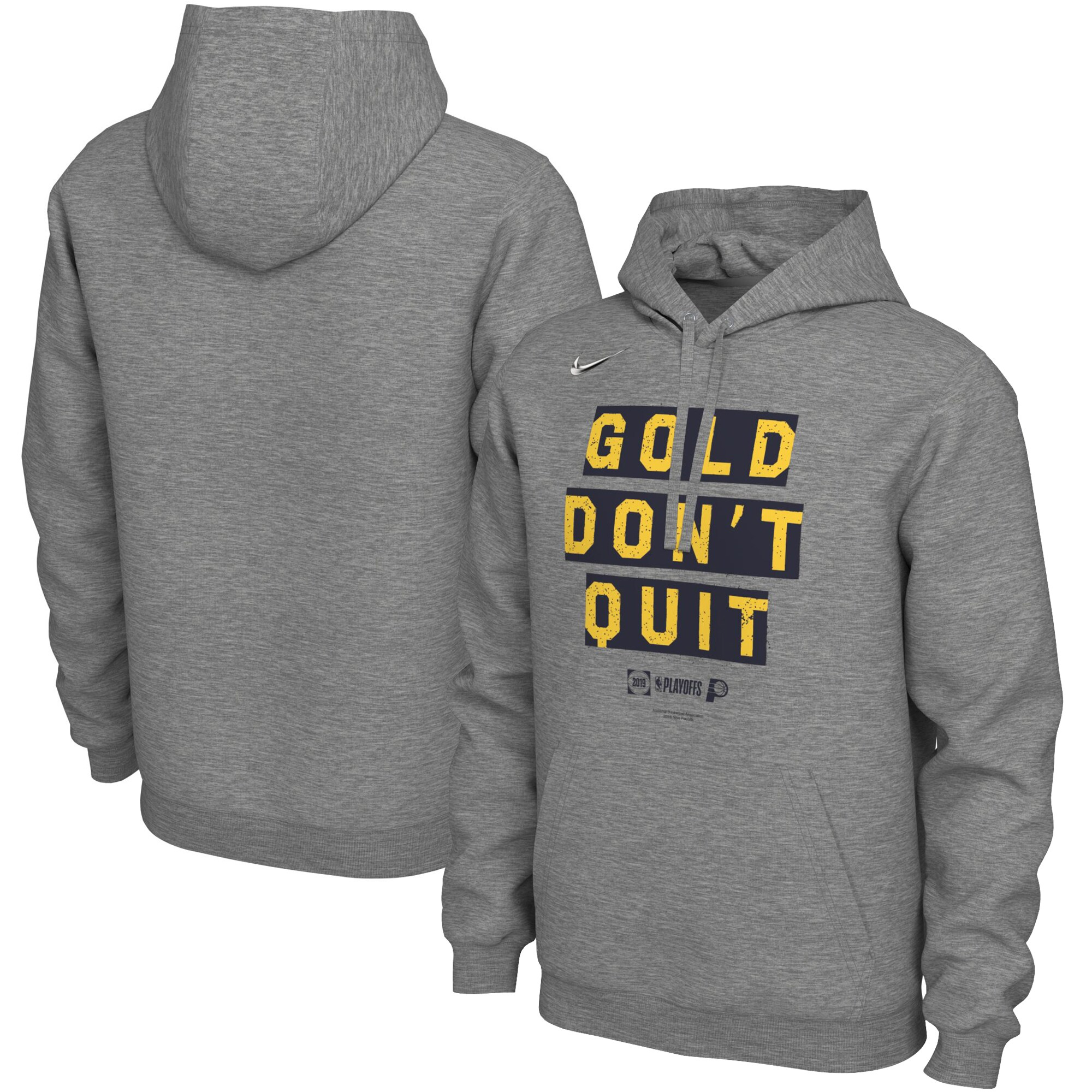 Indiana Pacers Nike 2019 NBA Playoffs Bound Team Mantra Pullover Hoodie - Heather Gray