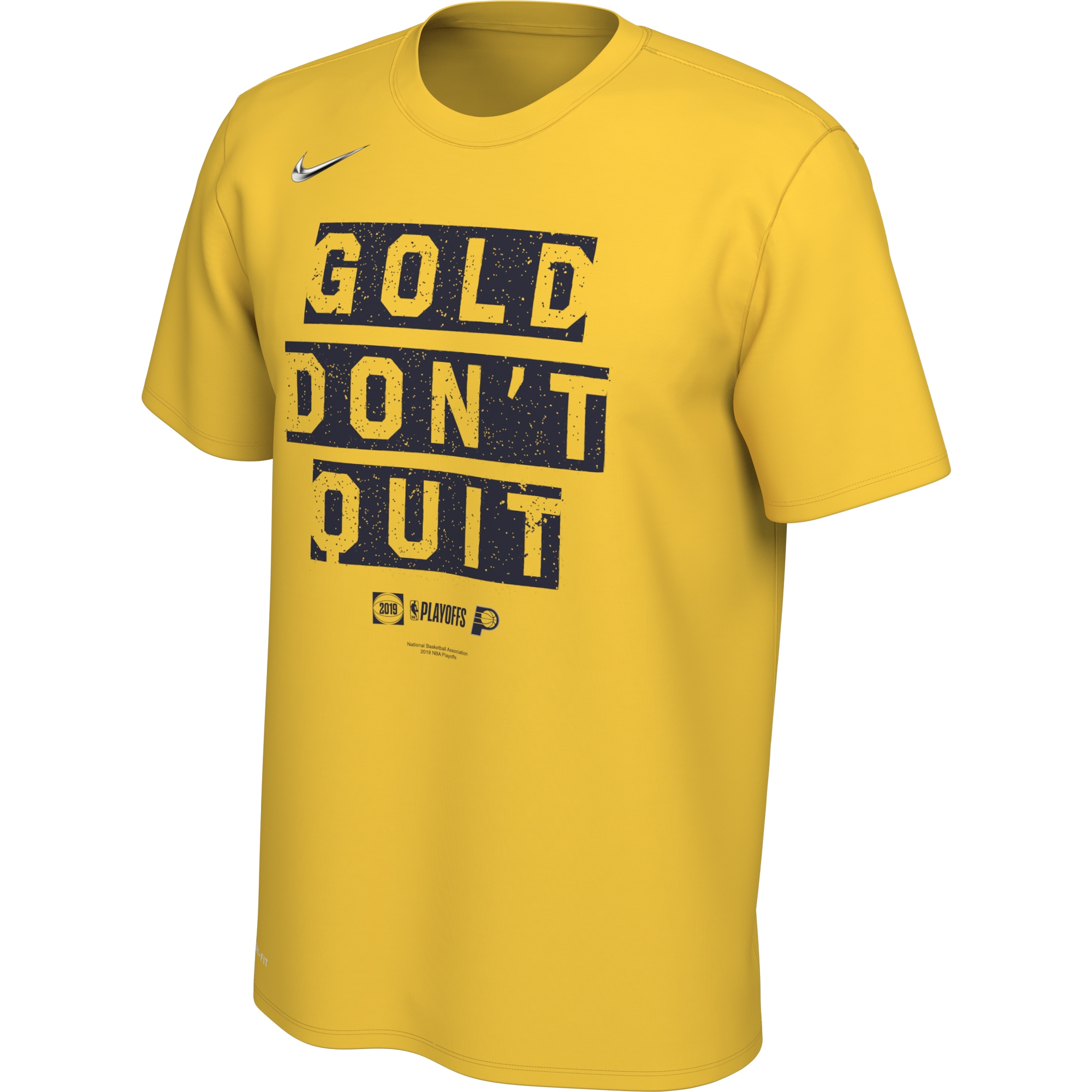 Indiana Pacers Nike 2019 NBA Playoffs Bound Team Mantra Dri-FIT T-Shirt - Gold