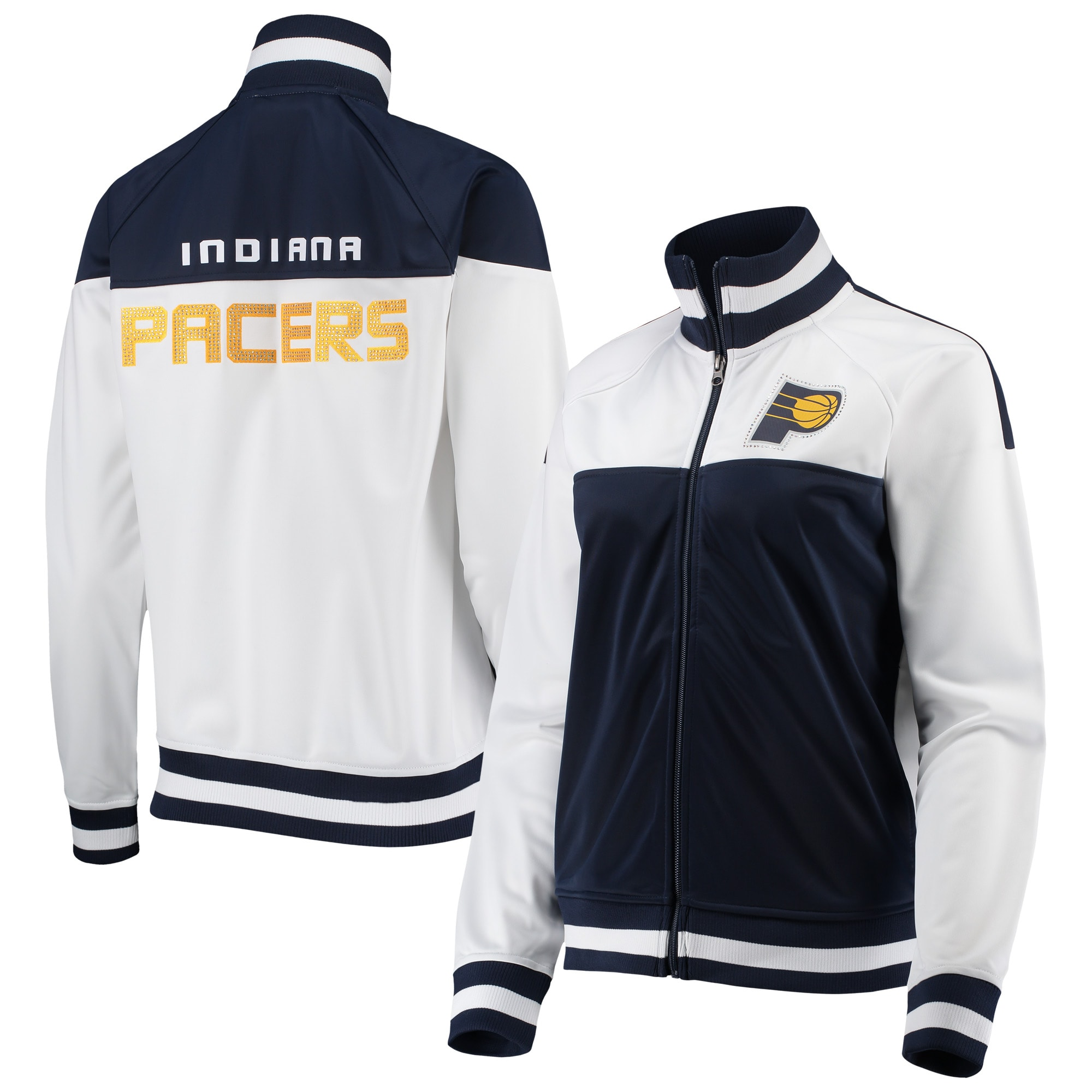 Indiana Pacers G-III 4Her by Carl Banks Women's Tip-Off Rhinestone Tricot Full-Zip Track Jacket - White/Navy