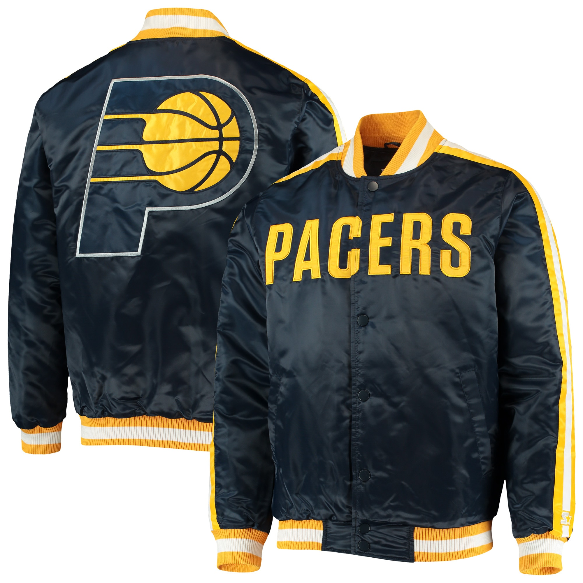 Indiana Pacers Starter The Offensive Varsity Satin Full-Snap Jacket - Navy