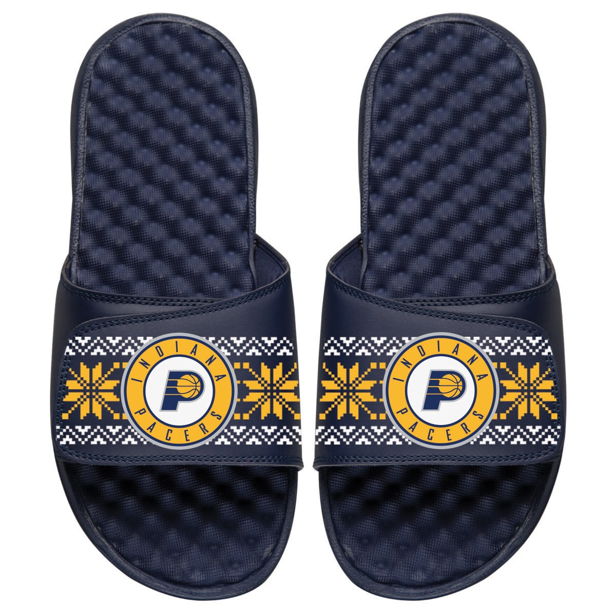 Indiana Pacers ISlide Youth Ugly Sweater Slide Sandals - Navy