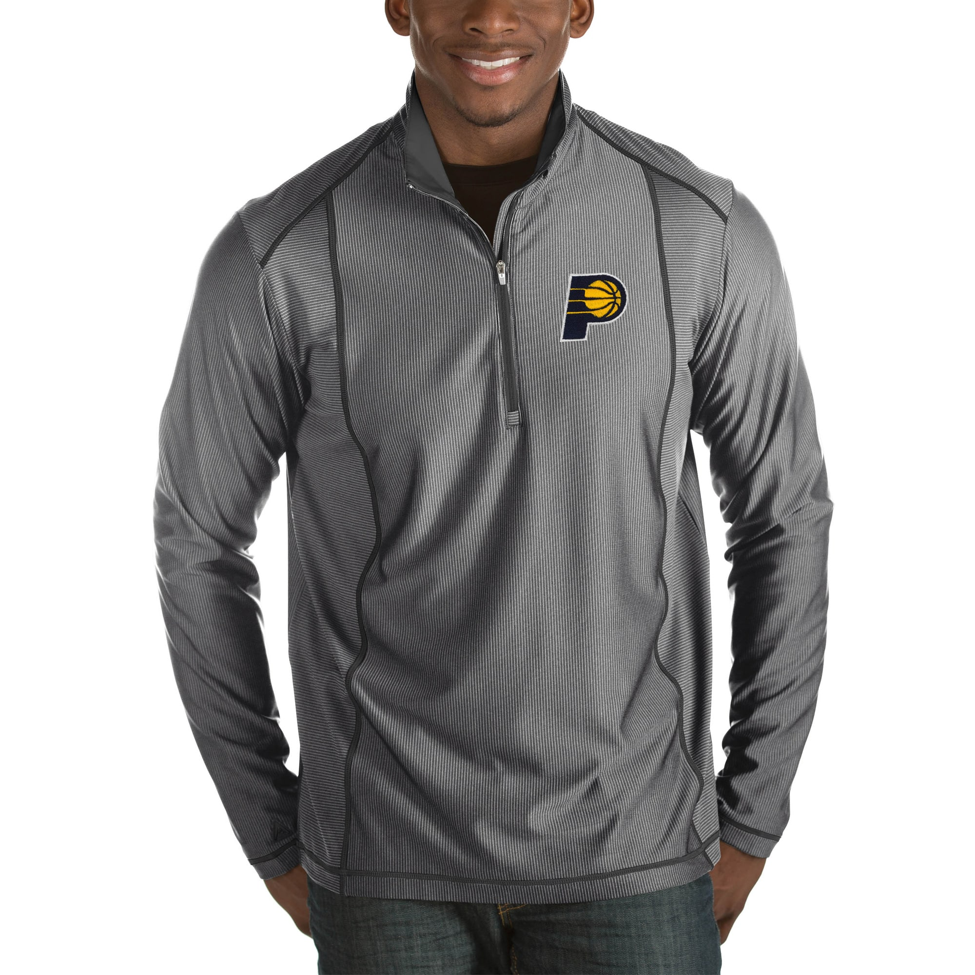 Indiana Pacers Antigua Tempo Big & Tall Half-Zip Pullover Jacket - Charcoal