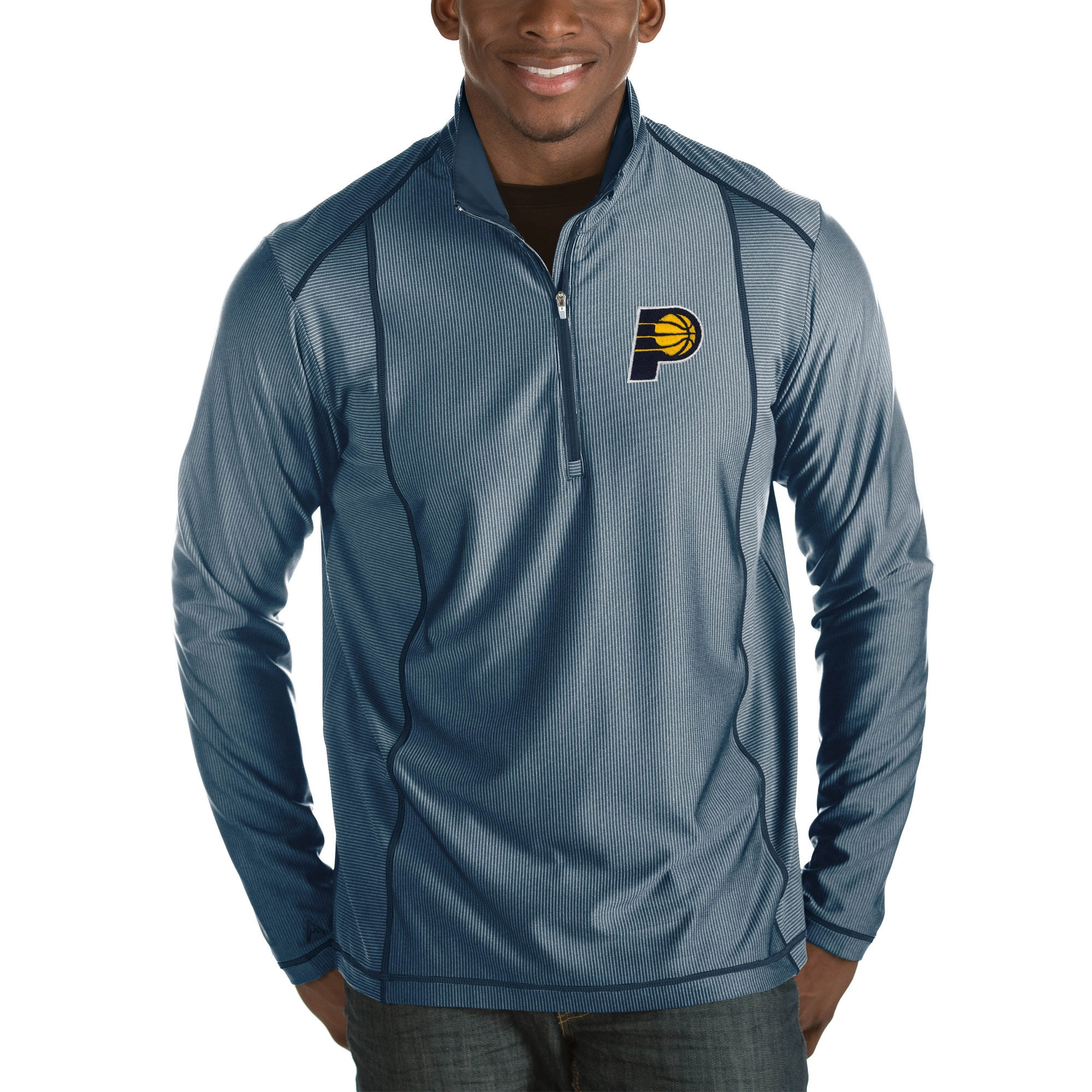 Indiana Pacers Antigua Tempo Big & Tall Half-Zip Pullover Jacket - Navy