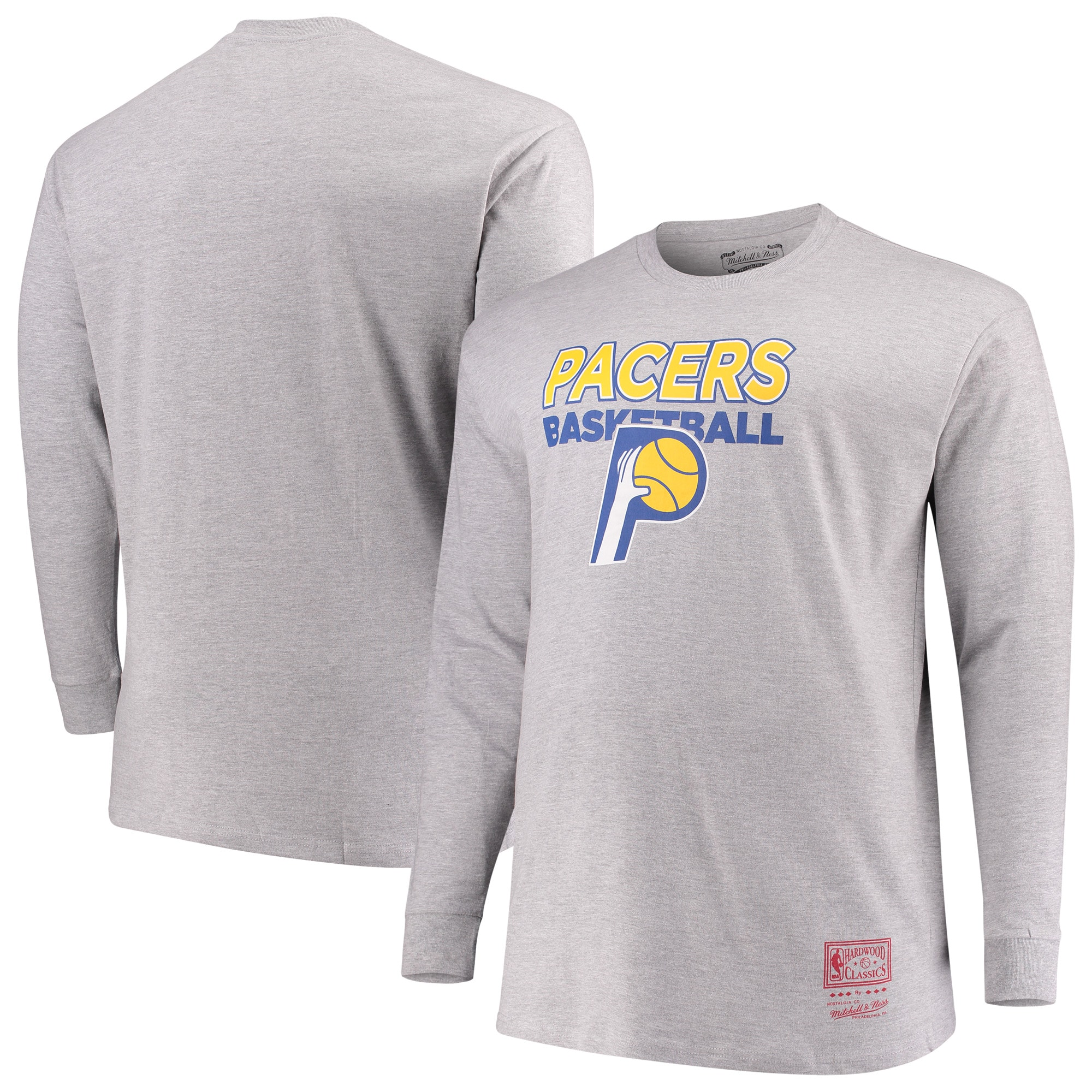 Indiana Pacers Mitchell & Ness Hometown Classics Big & Tall Thowback Logo Long Sleeve T-Shirt - Heathered Gray