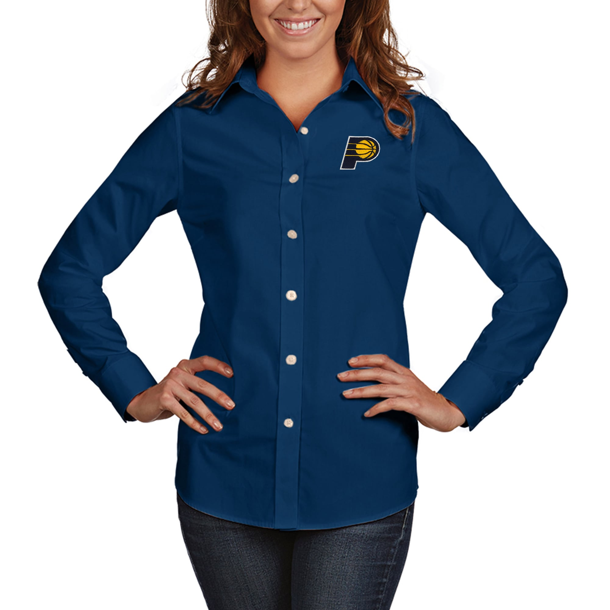 Indiana Pacers Antigua Women's Dynasty Woven Button-Up Long Sleeve Shirt - Navy
