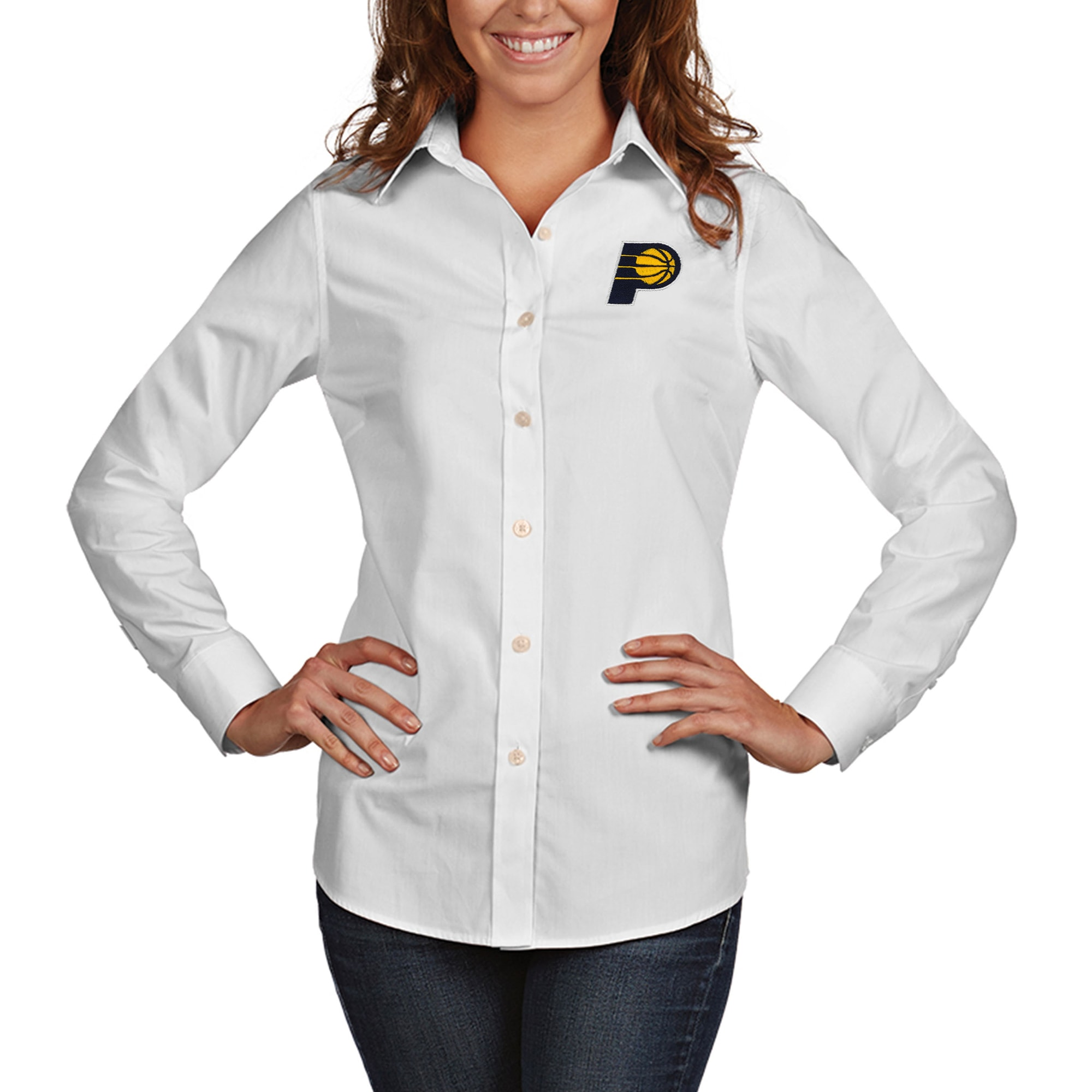 Indiana Pacers Antigua Women's Dynasty Woven Button-Up Long Sleeve Shirt - White