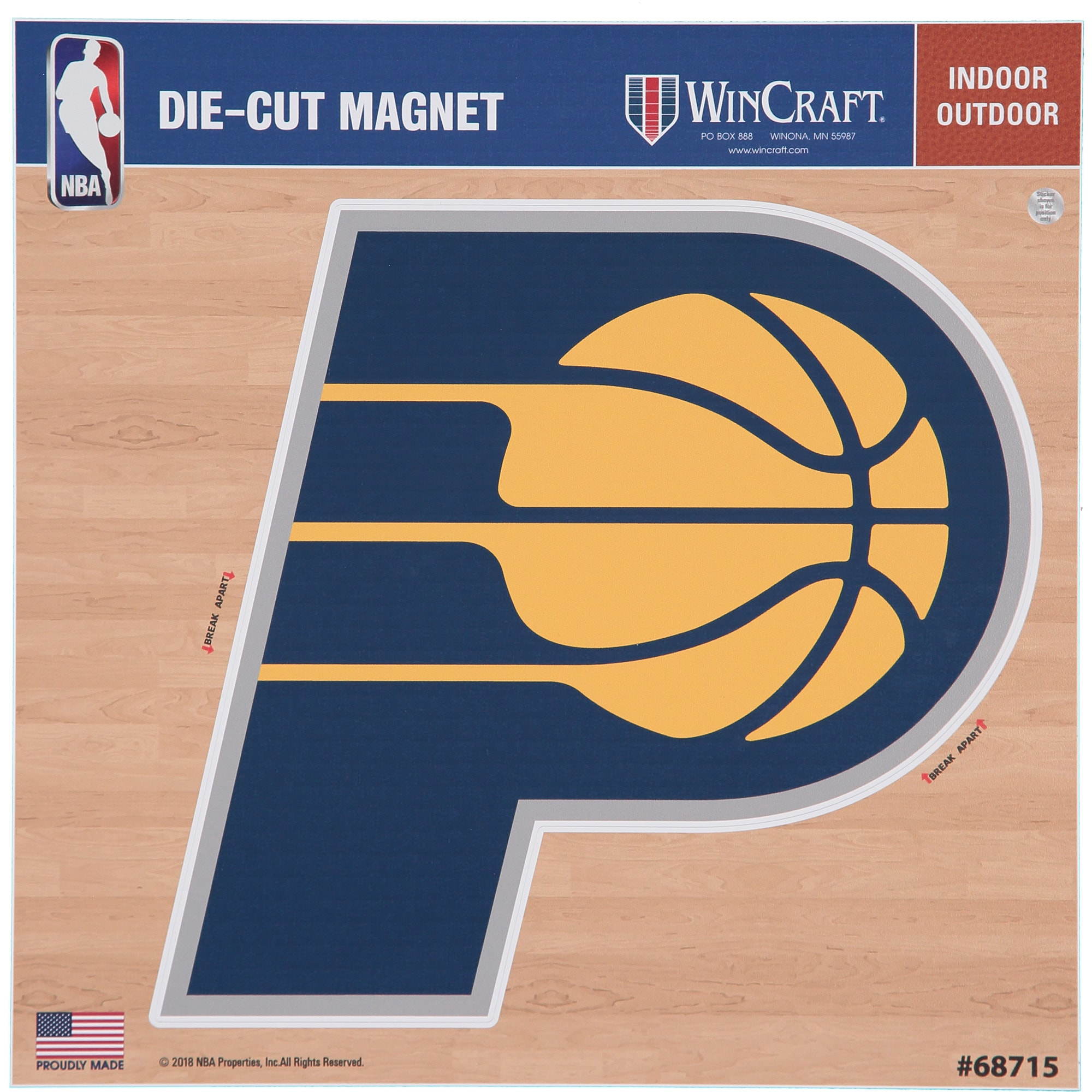 "Indiana Pacers 12"" x 12"" Car Magnet"