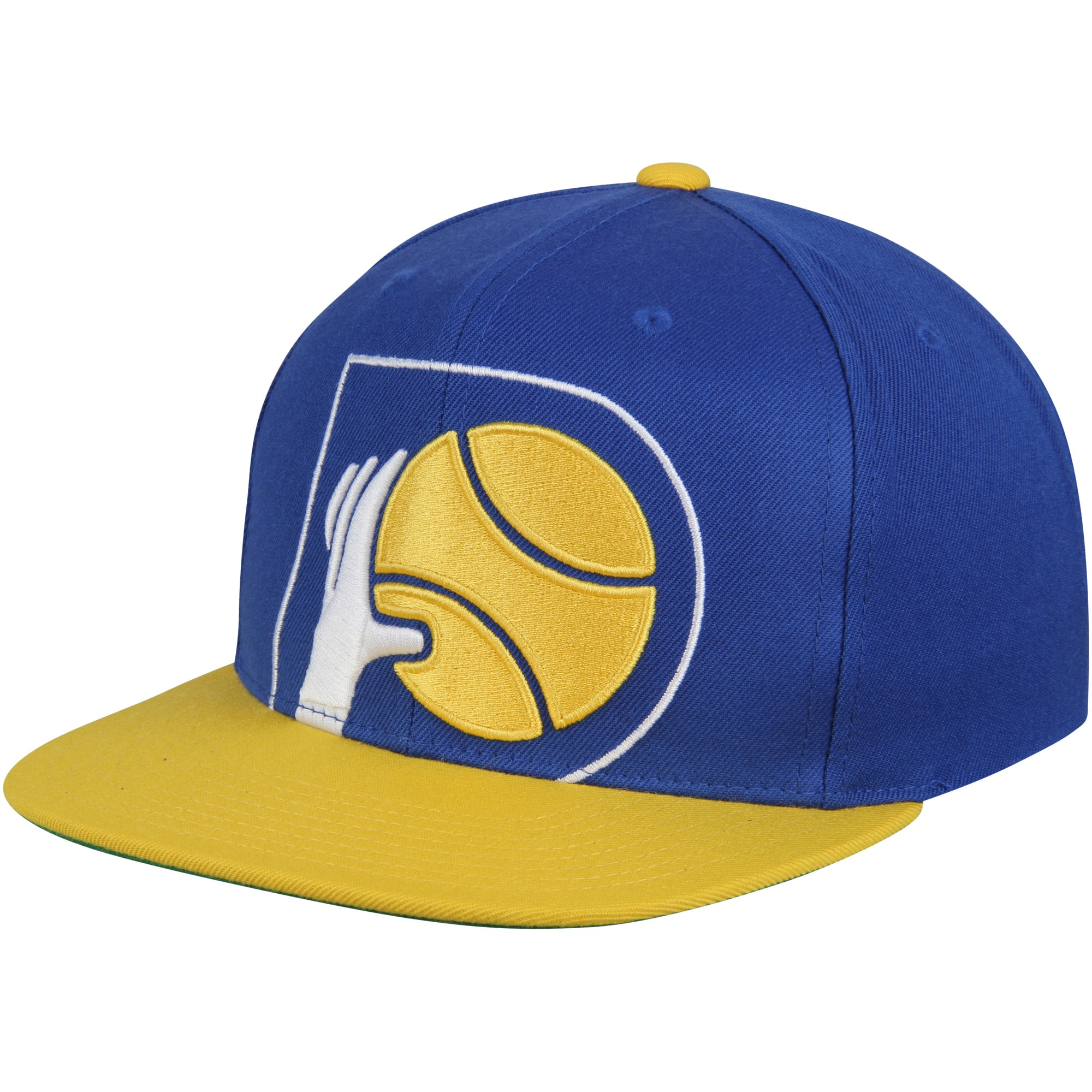Indiana Pacers Mitchell & Ness Hardwood Classics Cropped XL Logo Snapback Adjustable Hat - Navy/Gold