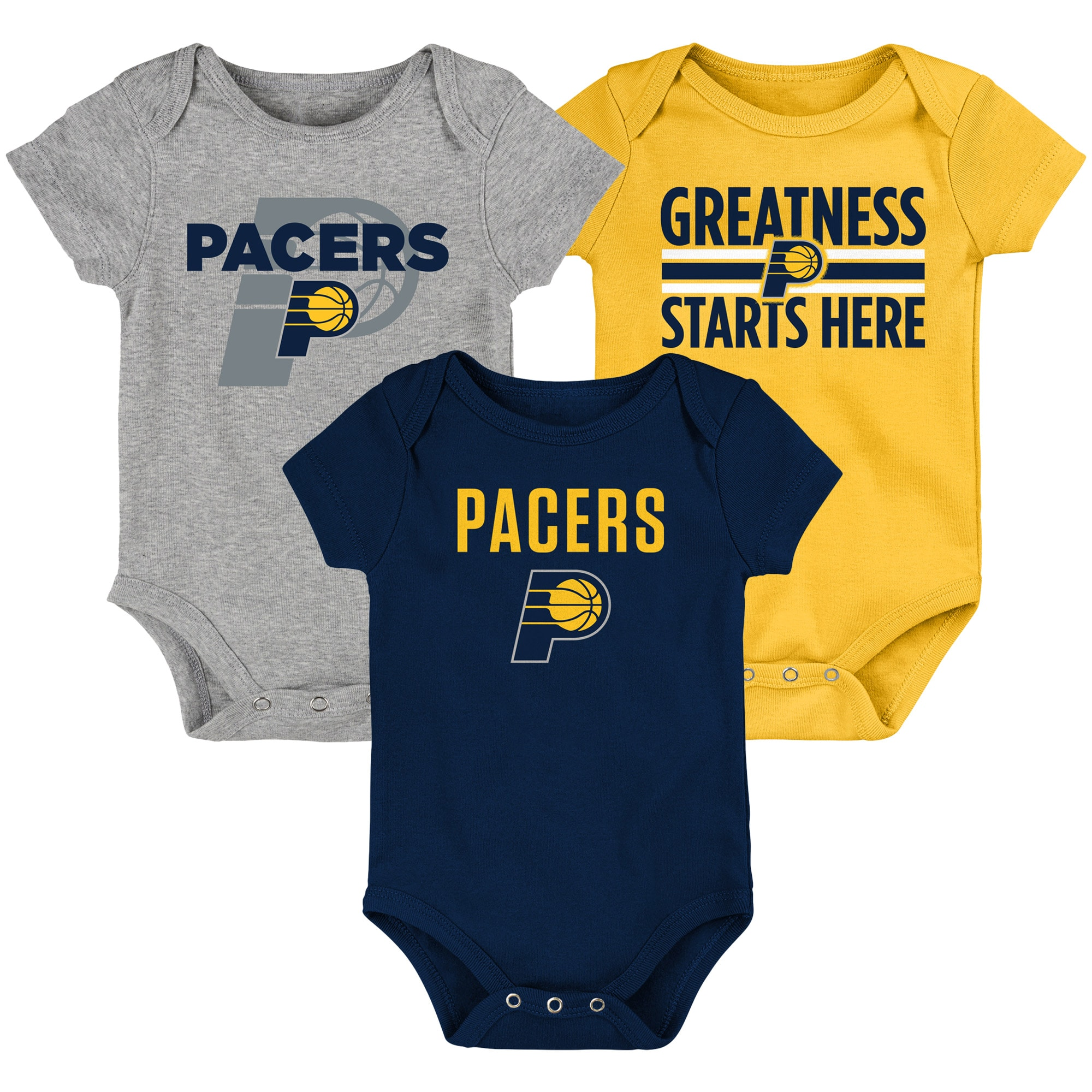Indiana Pacers Newborn & Infant Three-Pack Bodysuit Set - Navy/Gold/Gray