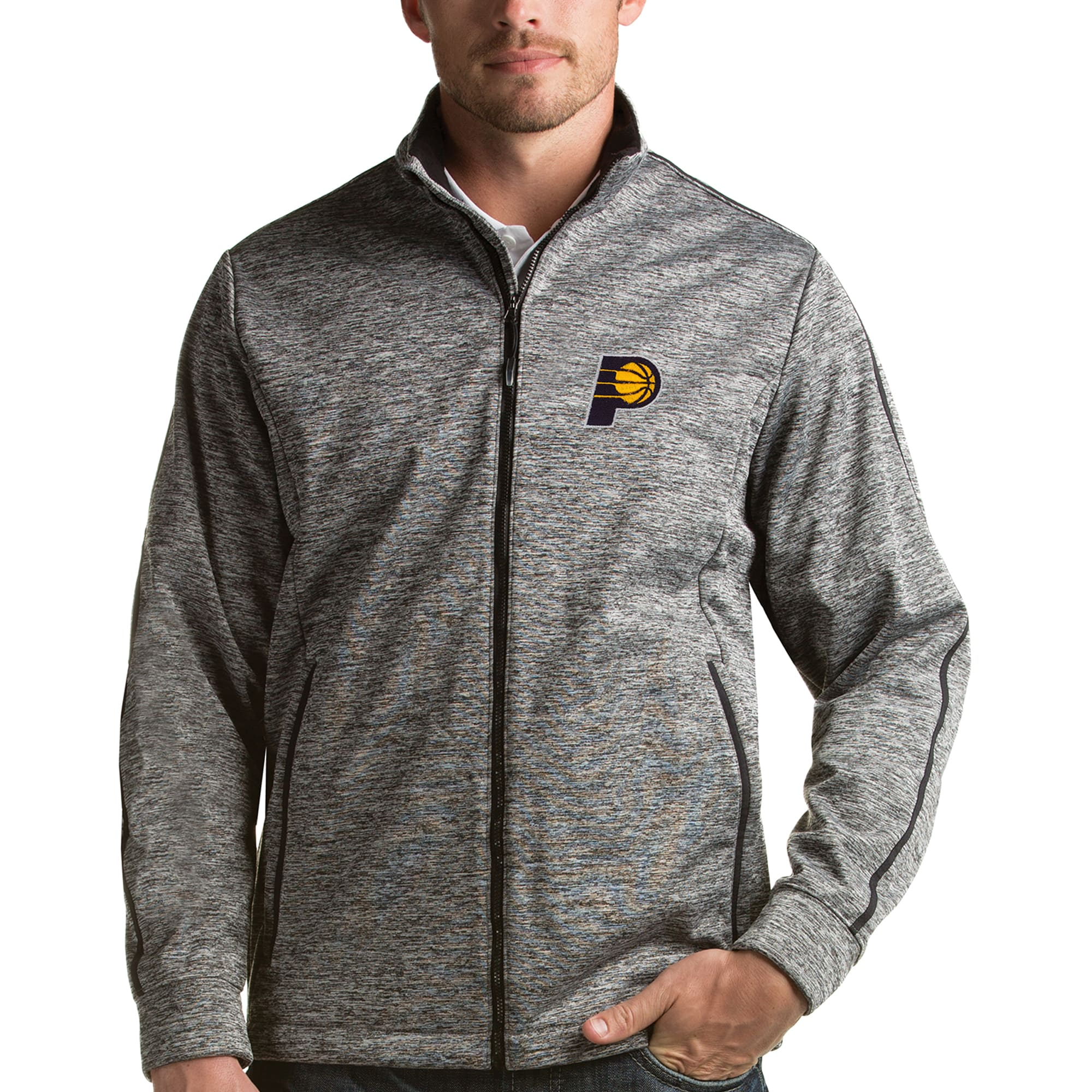 Indiana Pacers Antigua Golf Full-Zip Jacket - Heather Gray