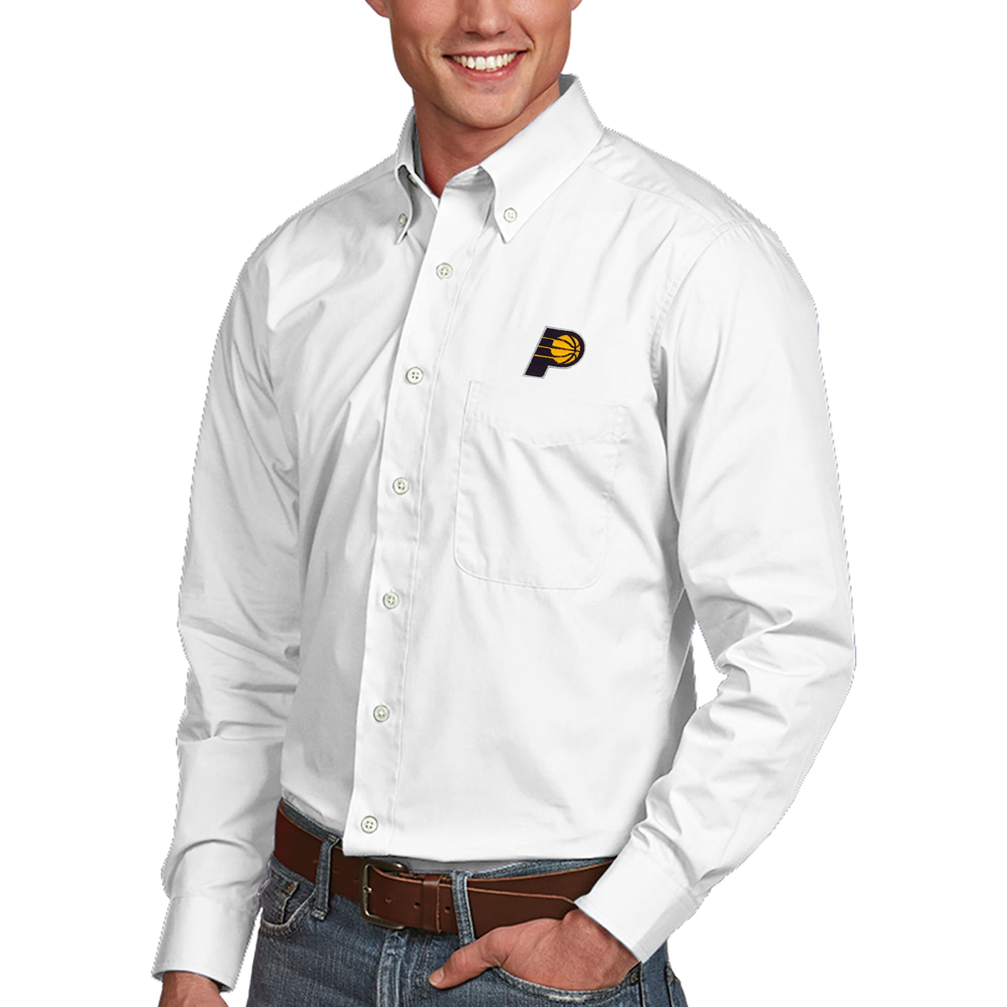 Indiana Pacers Antigua Dynasty Button-Down Long Sleeve Shirt - White