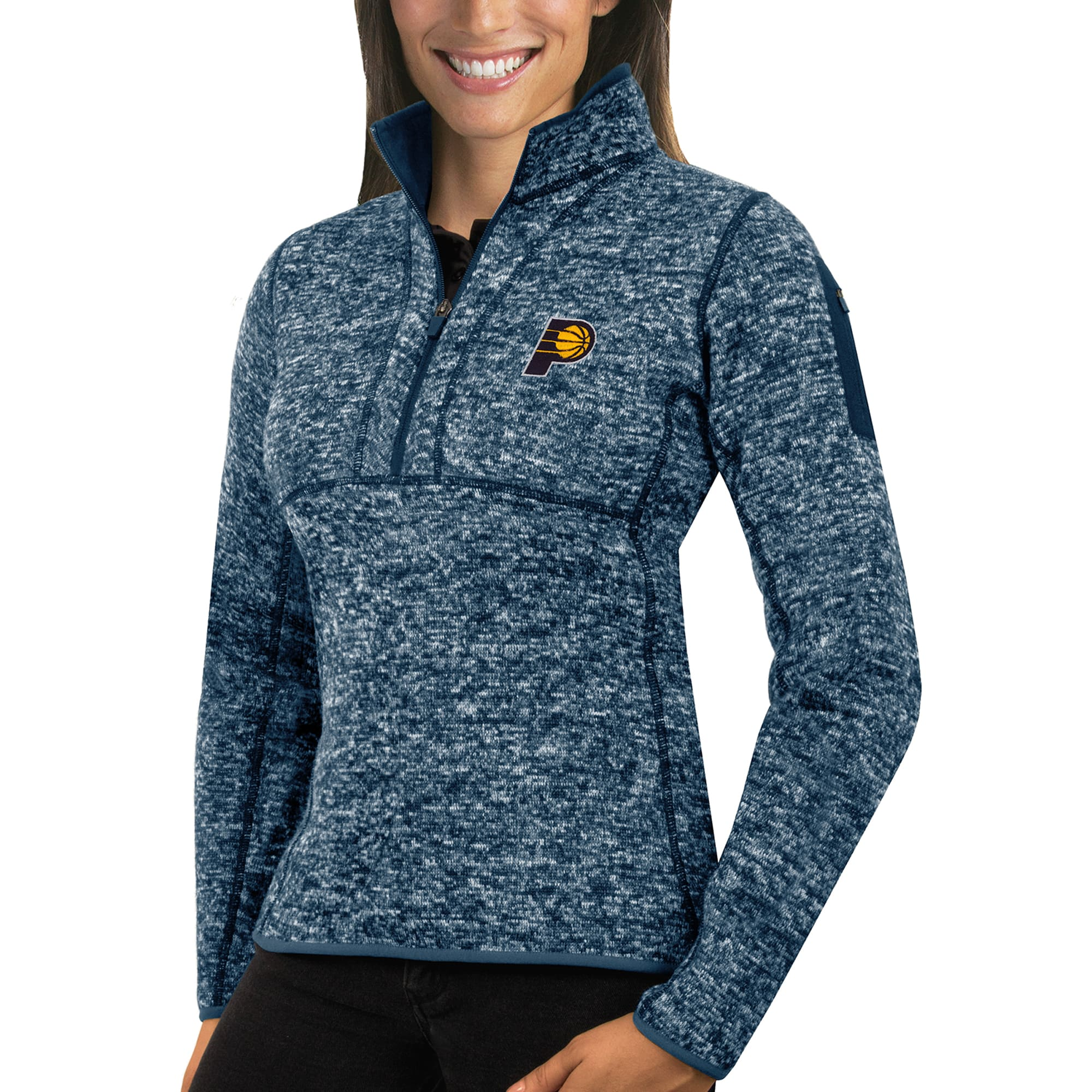 Indiana Pacers Antigua Women's Fortune Half-Zip Pullover Jacket - Heather Navy