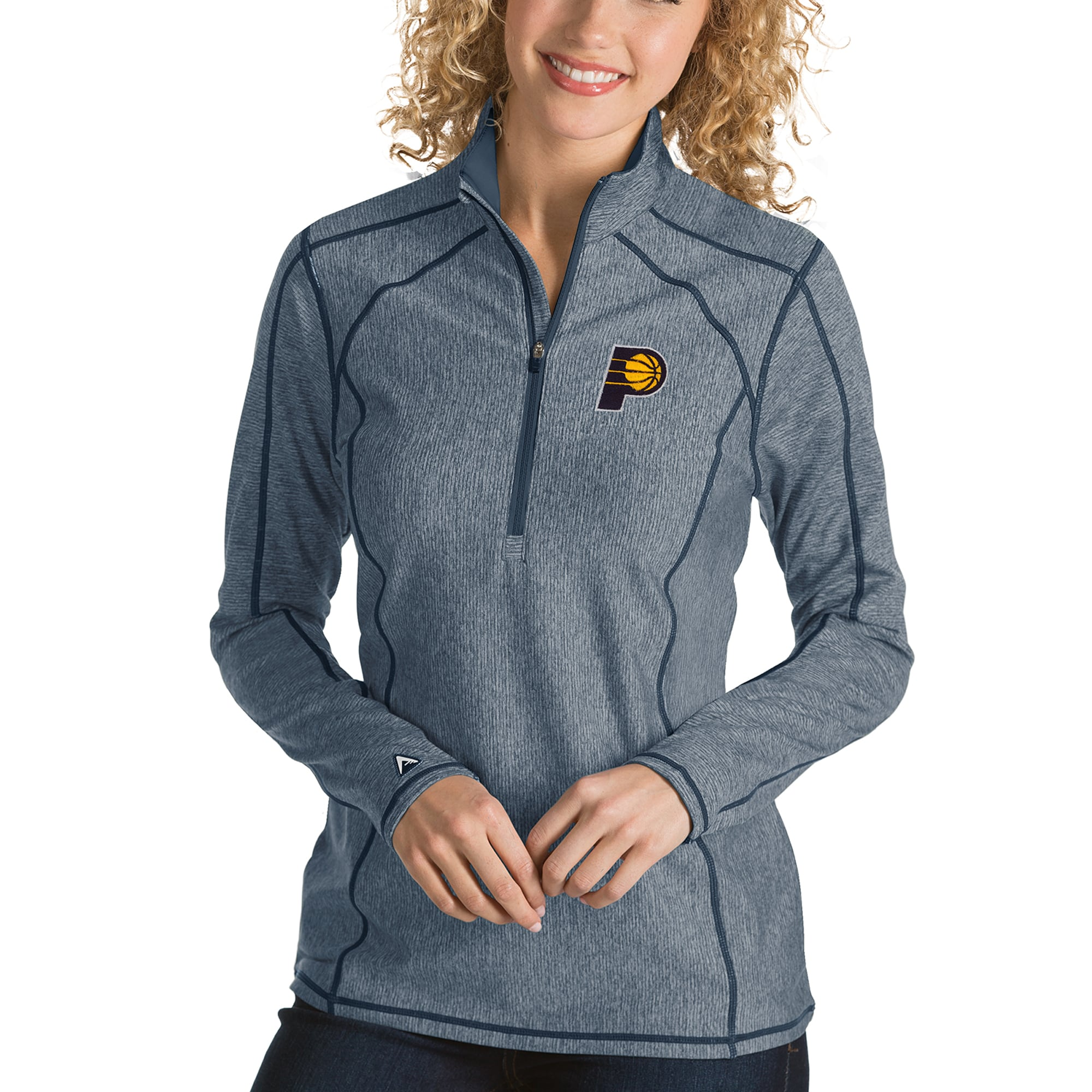 Indiana Pacers Antigua Women's Tempo Half-Zip Pullover Jacket - Heather Navy