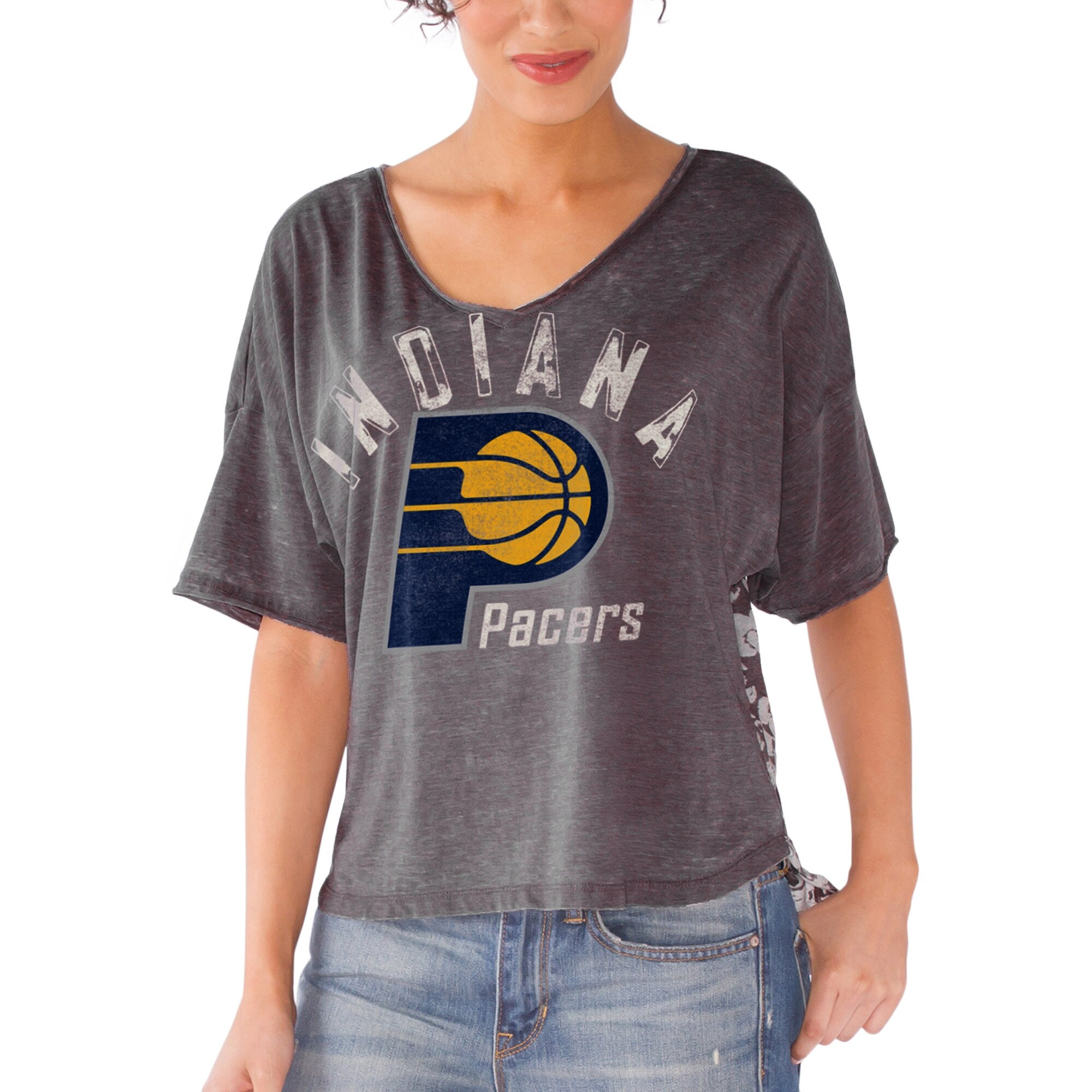 Indiana Pacers Touch by Alyssa Milano Women's Maverick Hi-Low Burnout T-Shirt - Gray