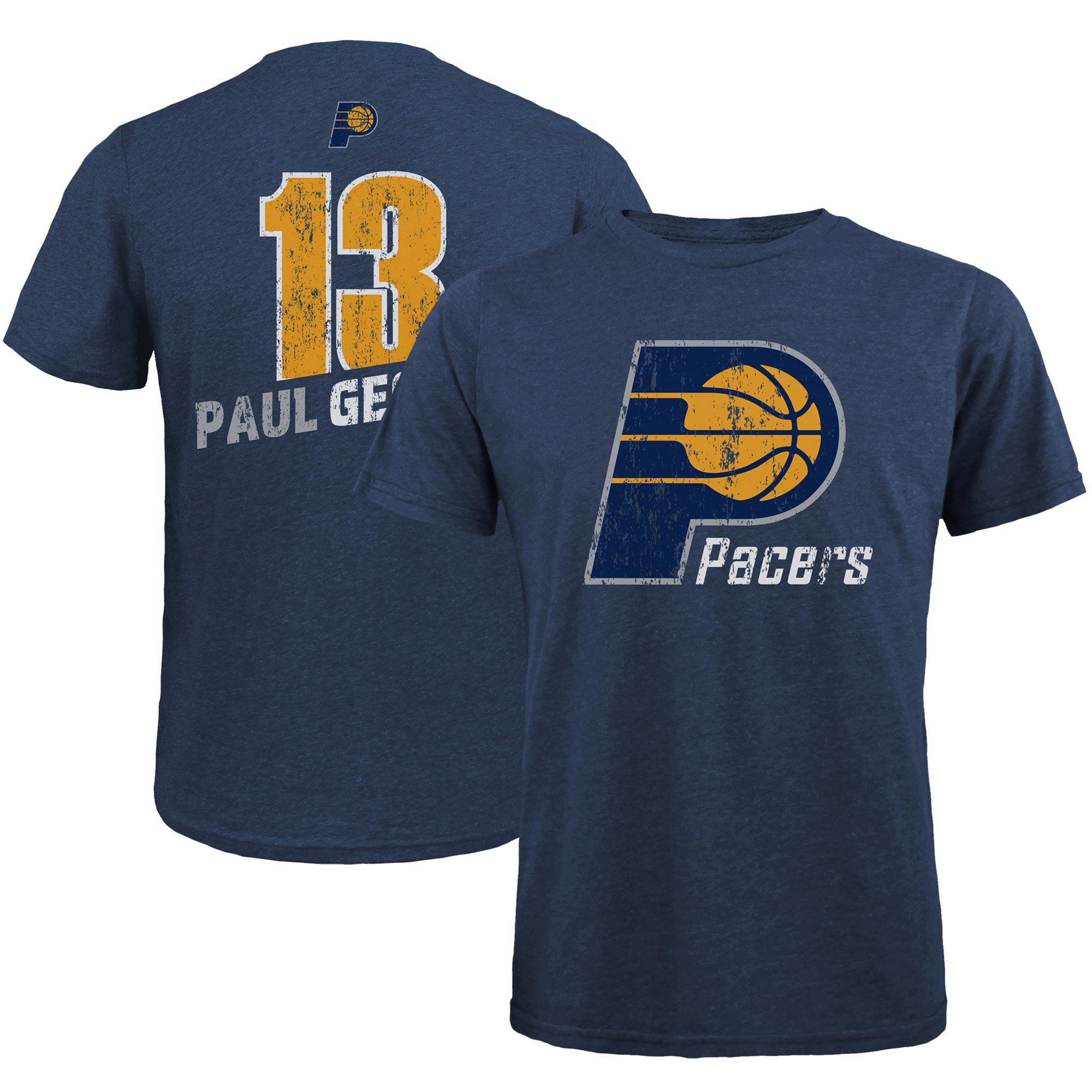Paul George Indiana Pacers Majestic Threads Name & Number Tri-Blend T-Shirt - Navy