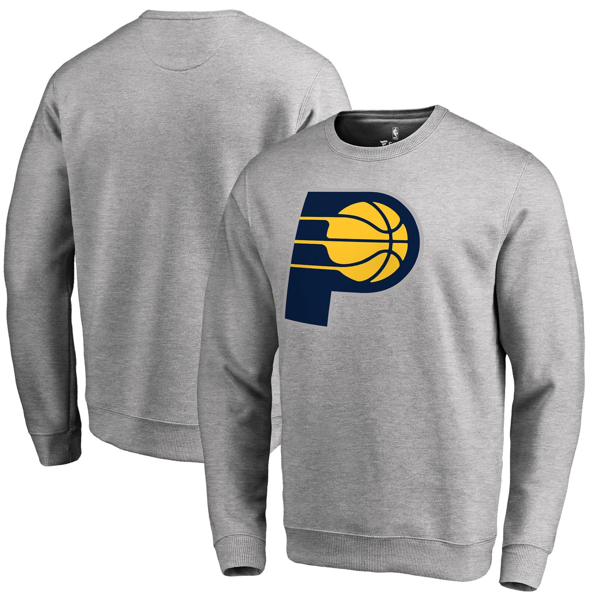 Indiana Pacers Fanatics Branded Primary Logo Sweatshirt - Heathered Gray
