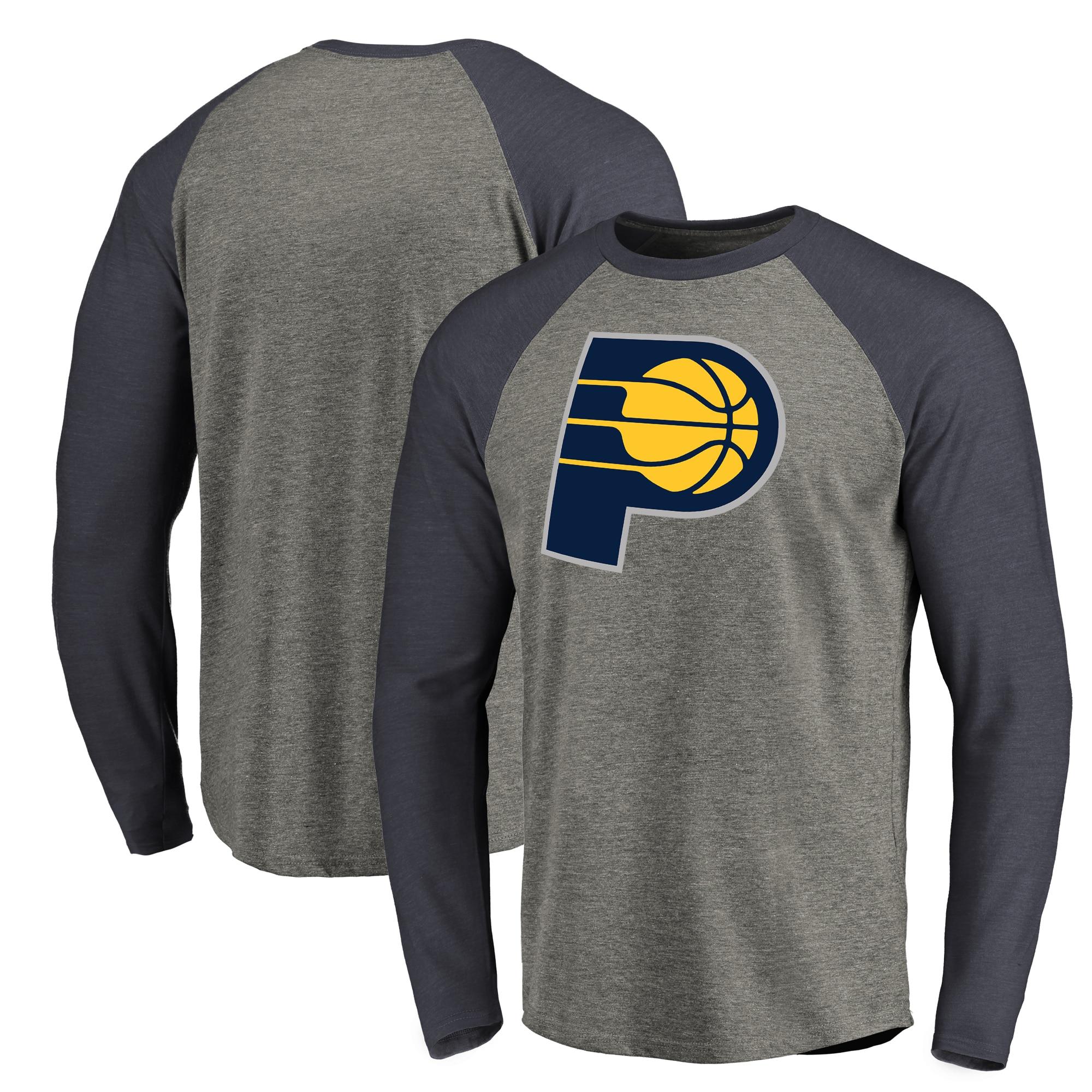 Indiana Pacers Fanatics Branded Primary Logo Raglan Long Sleeve T-Shirt - Heathered Gray