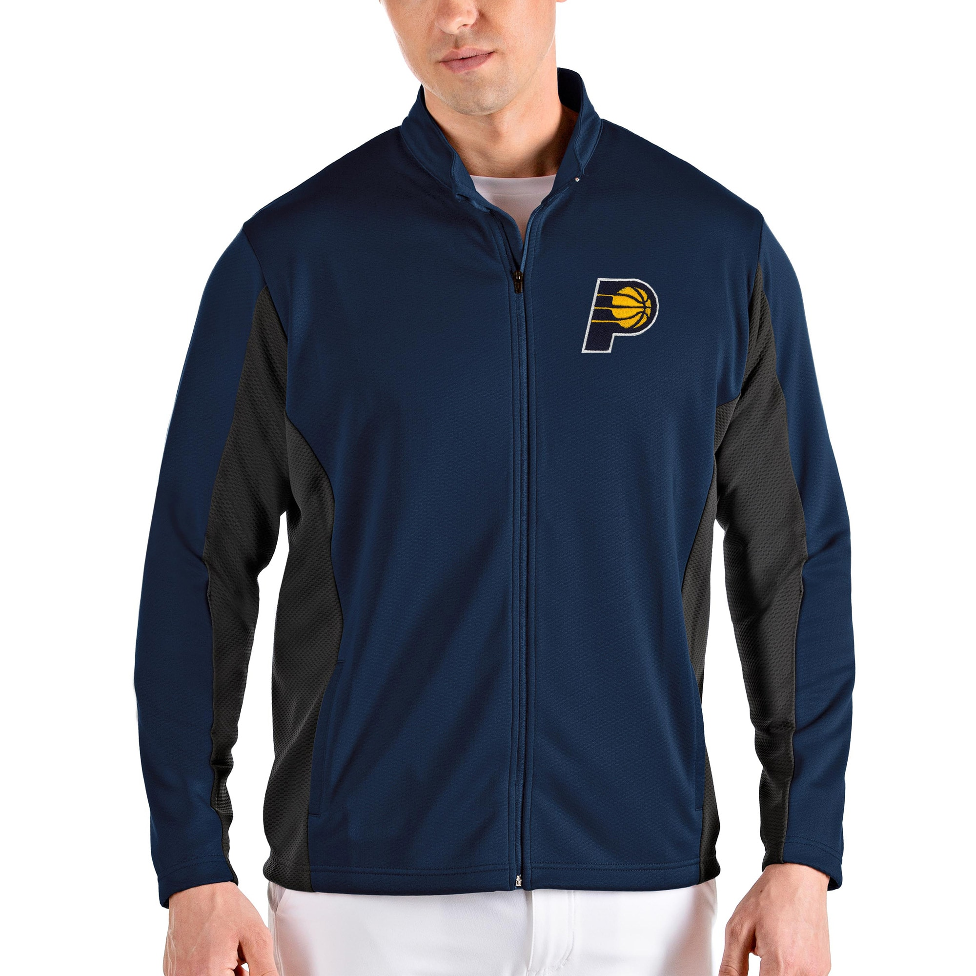 Indiana Pacers Antigua Passage Full-Zip Jacket - Navy/Gray