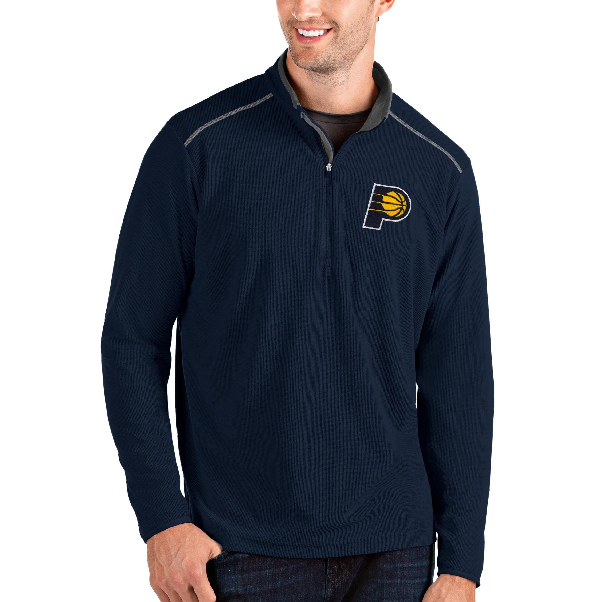 Indiana Pacers Antigua Big & Tall Glacier Quarter-Zip Pullover Jacket - Navy/Gray