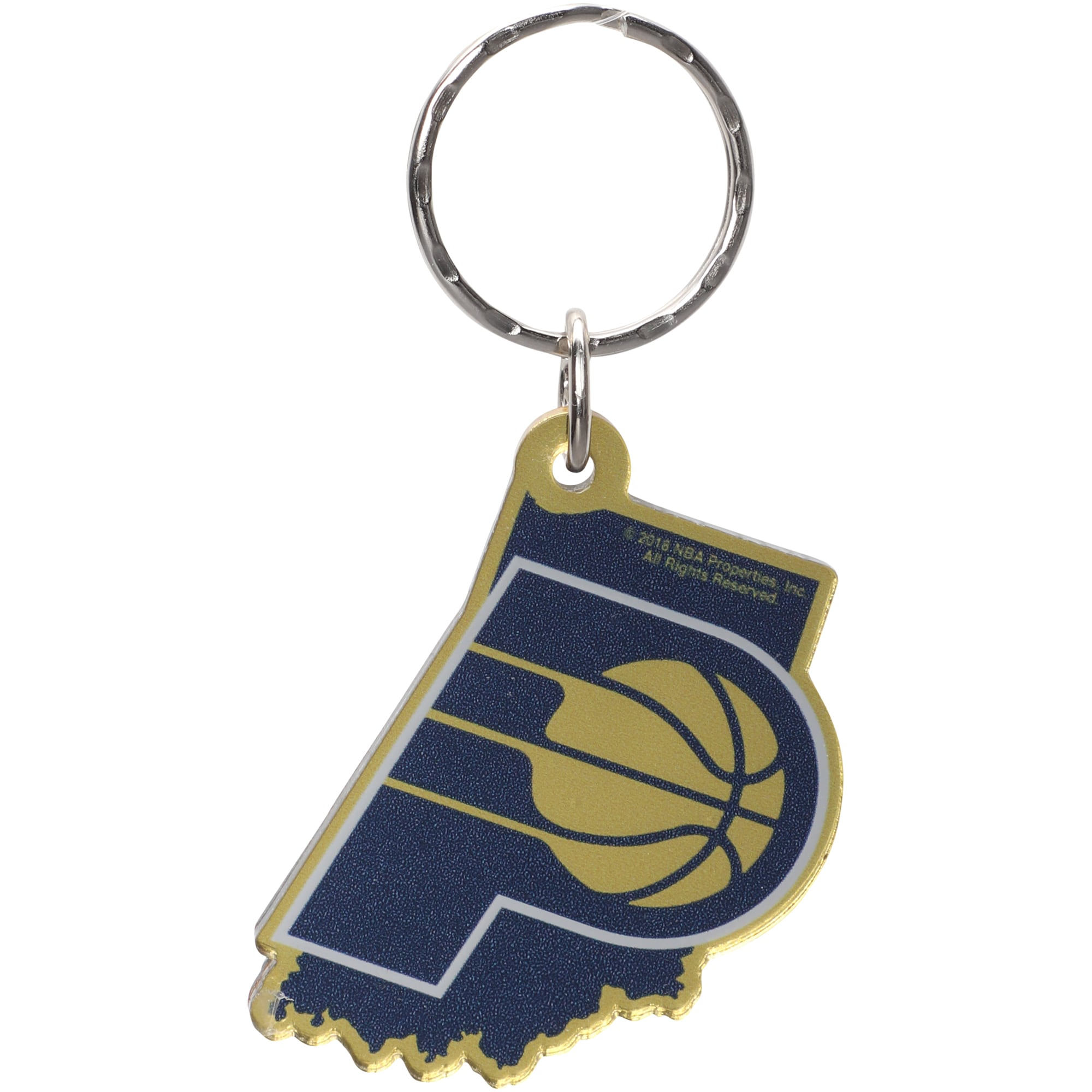 Indiana Pacers Metallic State Shape Keychain
