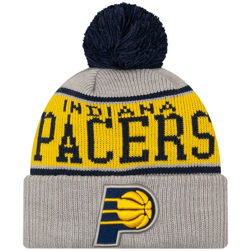 Indiana Pacers New Era Stripe Cuffed Knit Hat with Pom - Gray