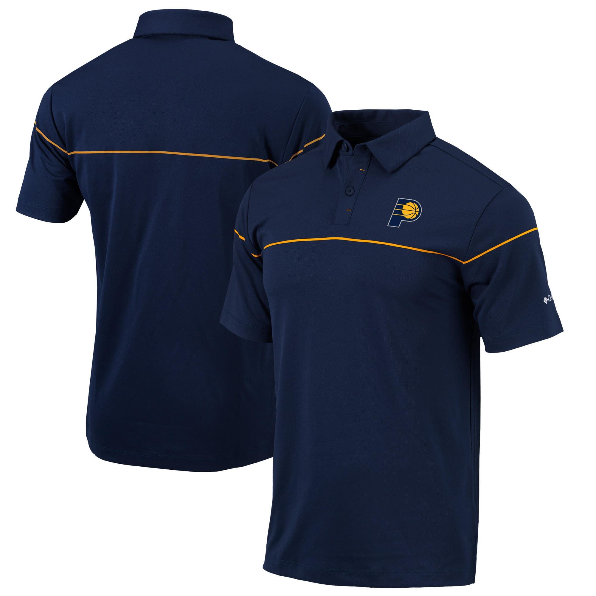 Indiana Pacers Columbia Omni-Wick Breaker Polo - Navy/Gold