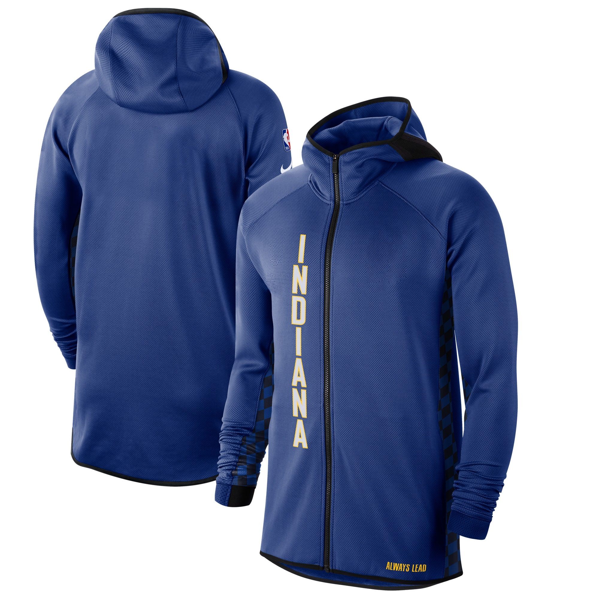 Indiana Pacers Nike 2019/20 Earned Edition Showtime Full-Zip Performance Hoodie - Blue/White