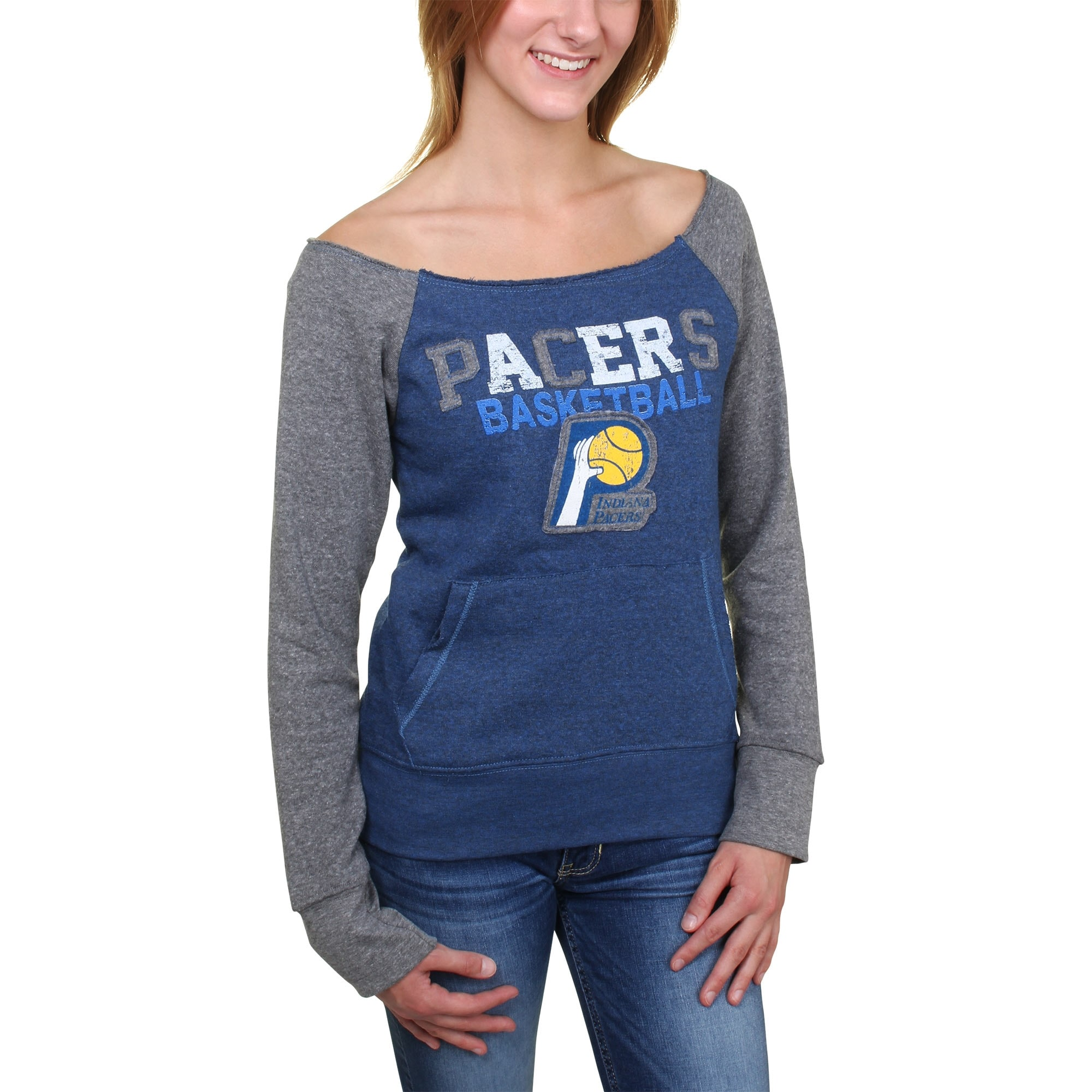 Indiana Pacers 5th and Ocean Women's Hardwood Classics Fleece Long Sleeve T-Shirt - Royal Blue