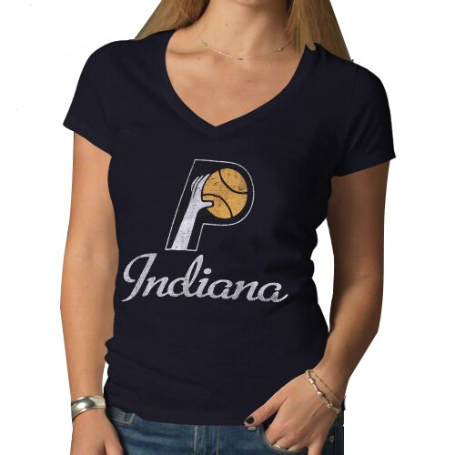 Indiana Pacers '47 Brand Women's Hardwood Classics Scrum V-Neck T-Shirt - Navy Blue