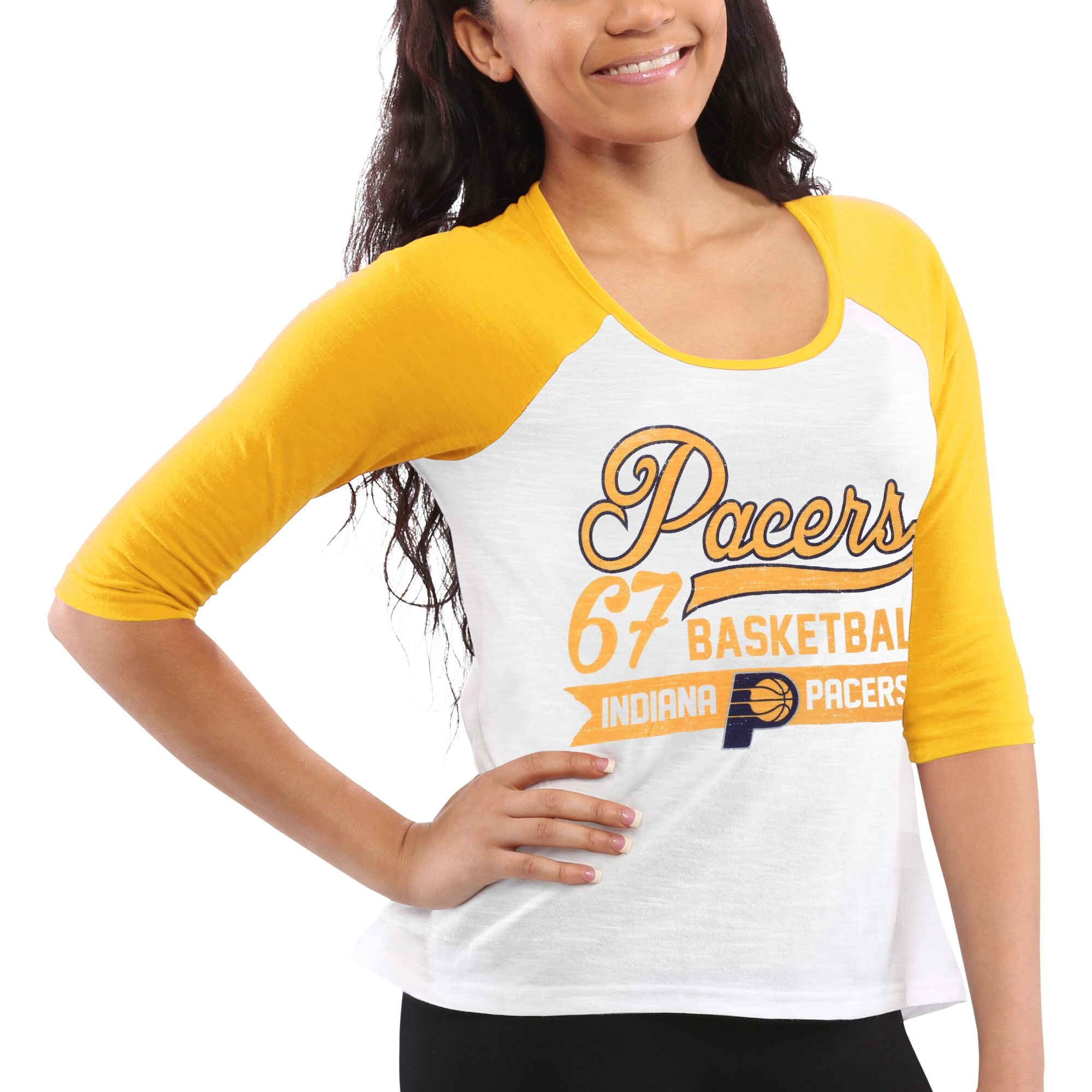Indiana Pacers Women's Home Run Three-Quarter Length Raglan T-Shirt - White