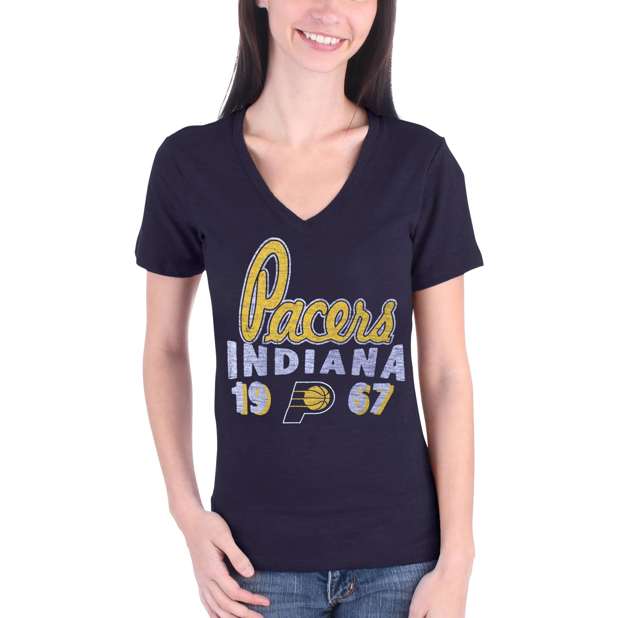 Indiana Pacers Women's Lifestyle Burnout Slim-Fit V-Neck T-Shirt - Navy Blue