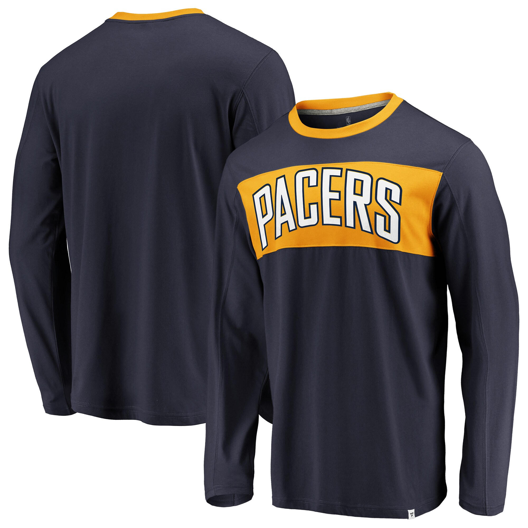 Indiana Pacers Fanatics Branded Iconic Color Block Long Sleeve T-Shirt - Navy/Gold