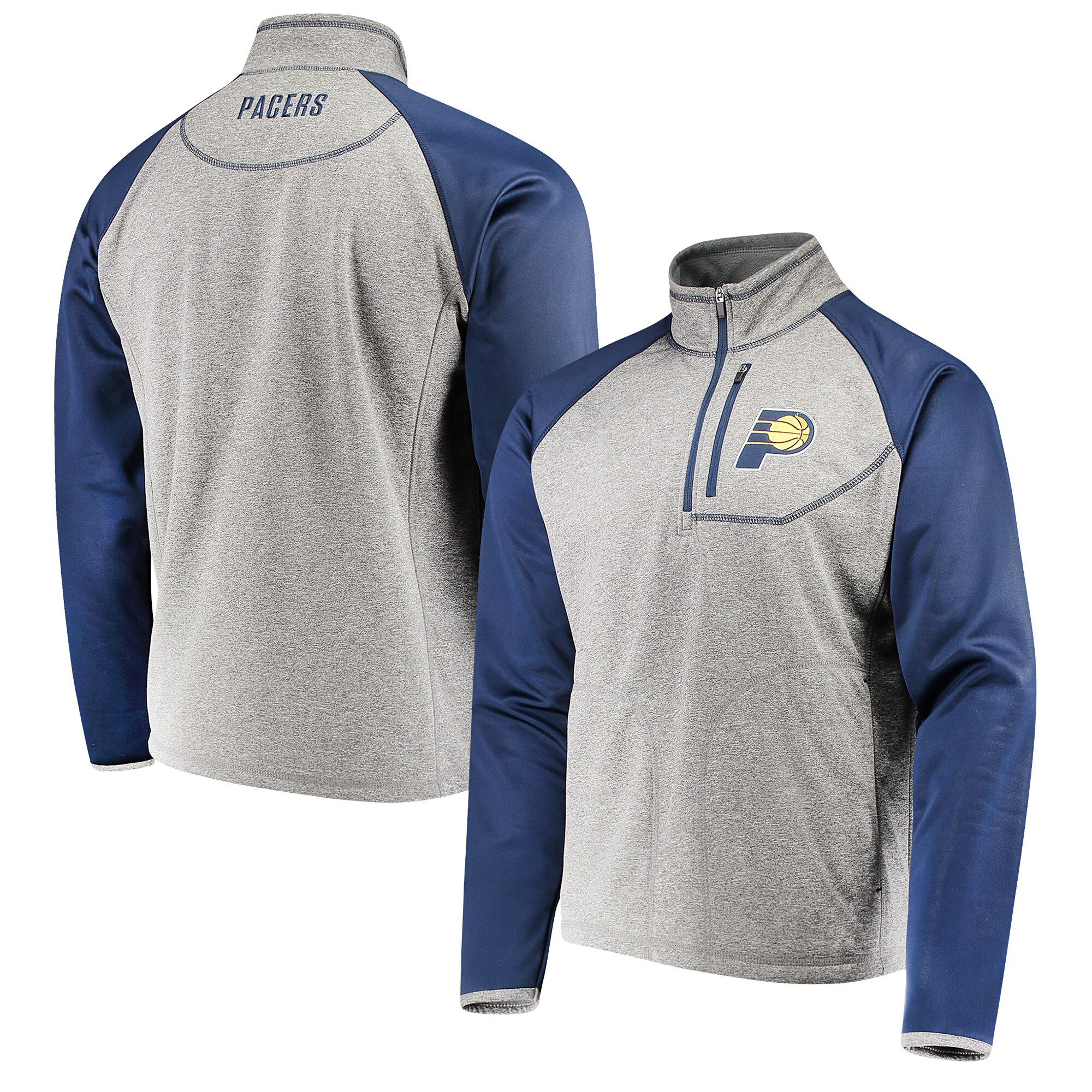 Indiana Pacers G-III Sports by Carl Banks Mountain Trail Half-Zip Pullover Jacket - Gray/Navy