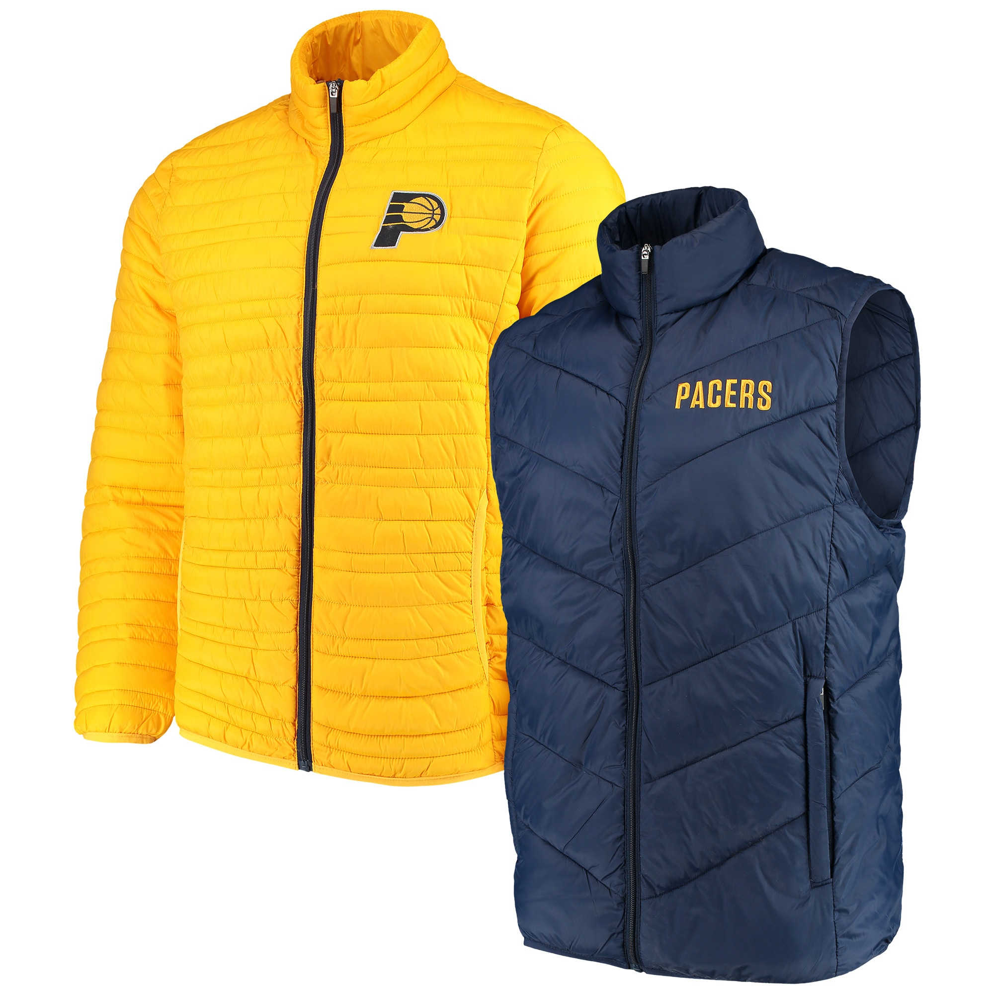 Indiana Pacers G-III Sports by Carl Banks Three & Out 3-in-1 System Full-Zip Vest & Jacket Set - Navy/Gold