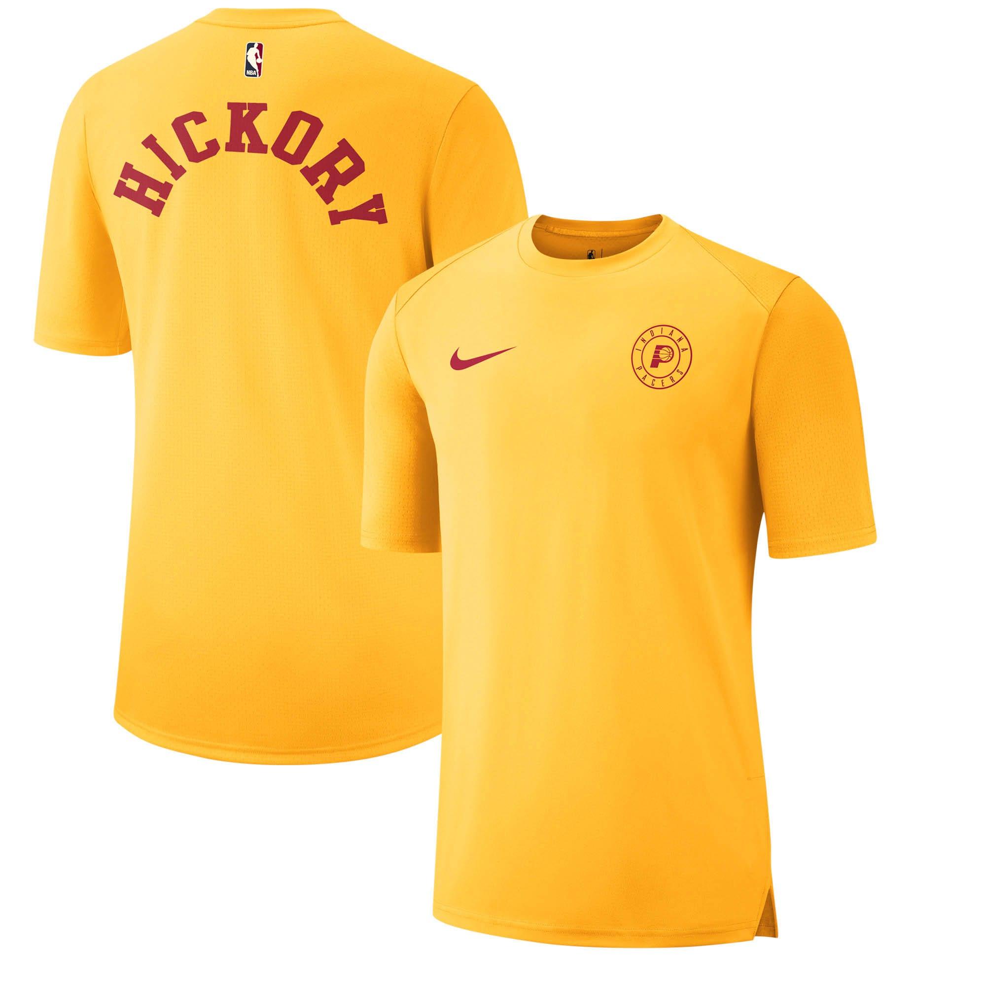 Indiana Pacers Nike Hardwood Classics Hyper Elite Shooting T-Shirt - Gold