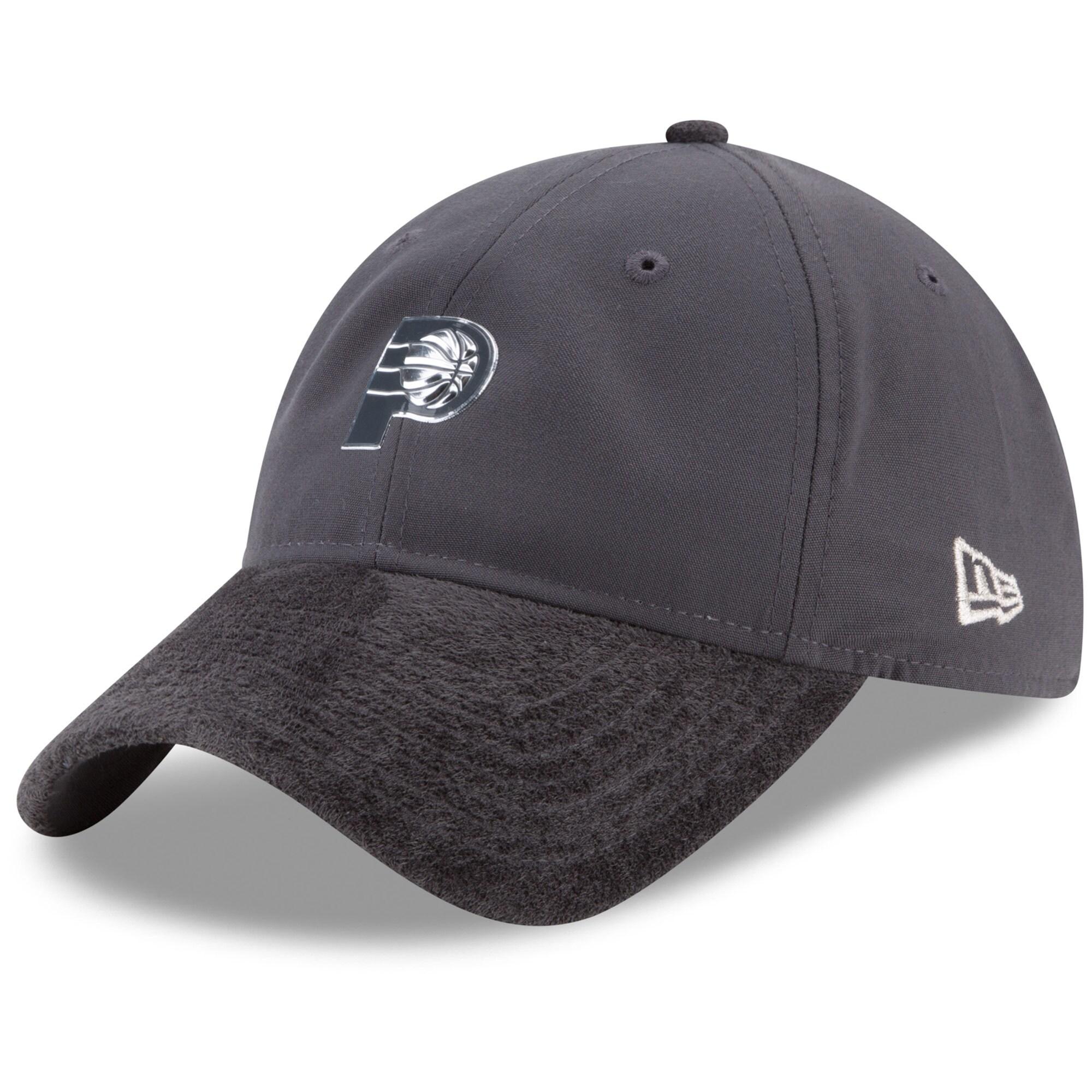 Indiana Pacers New Era On-Court Silver Logo 9TWENTY Adjustable Hat - Graphite