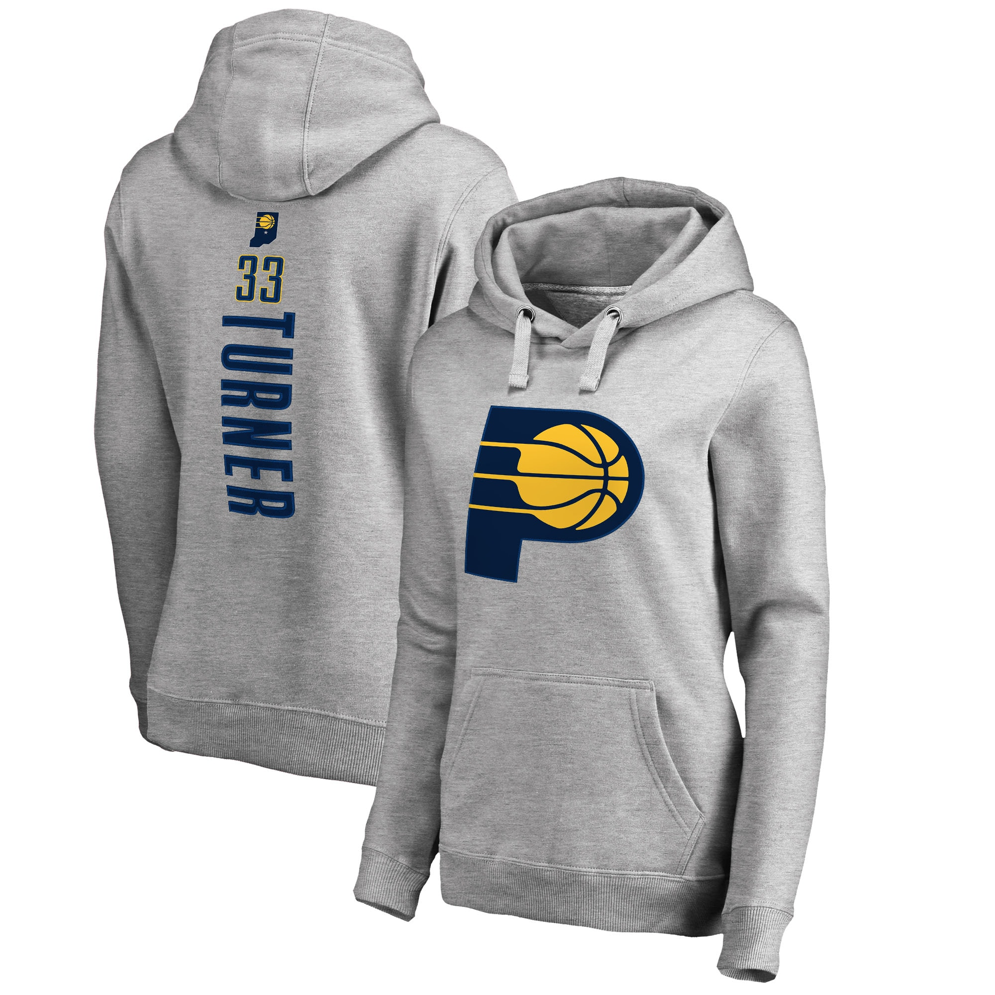 Myles Turner Indiana Pacers Fanatics Branded Women's Backer Name and Number Pullover Hoodie - Heathered Gray